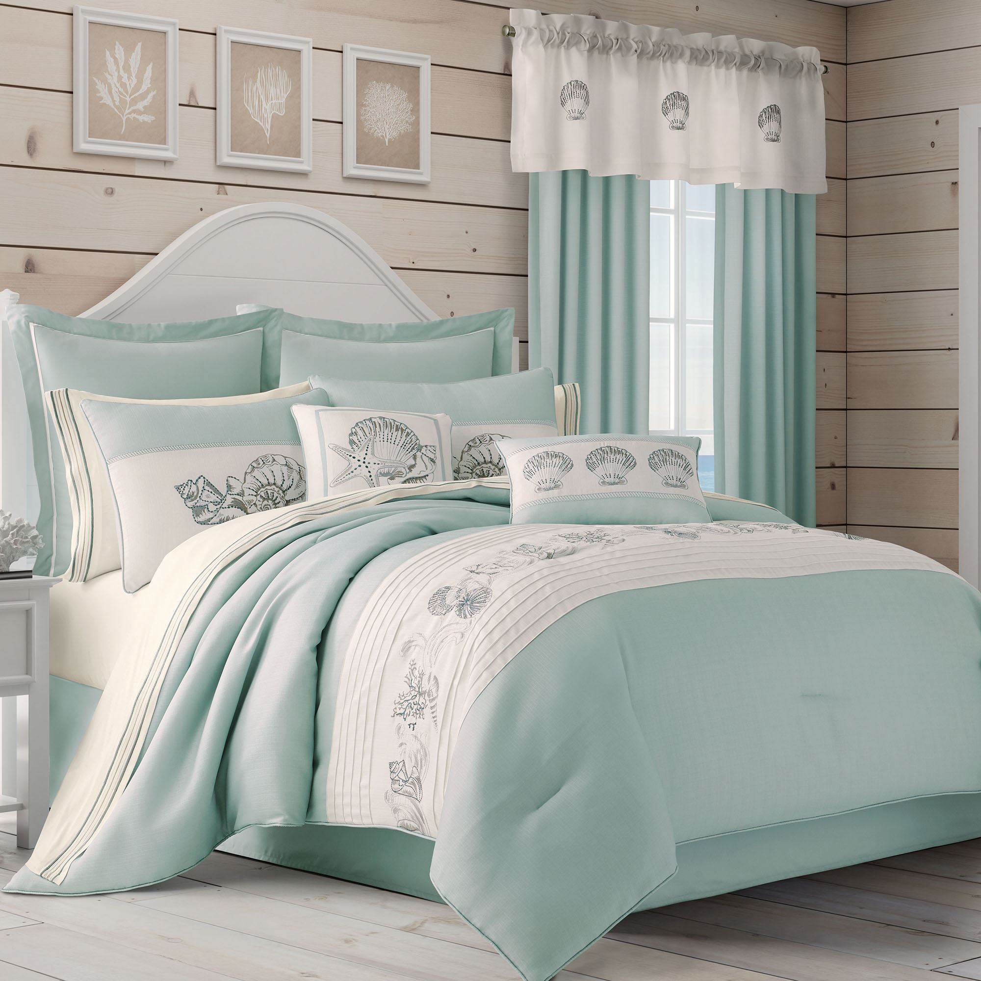 Waters Edge Pale Blue Seashell Coastal Comforter Bedding By Royal Court Home