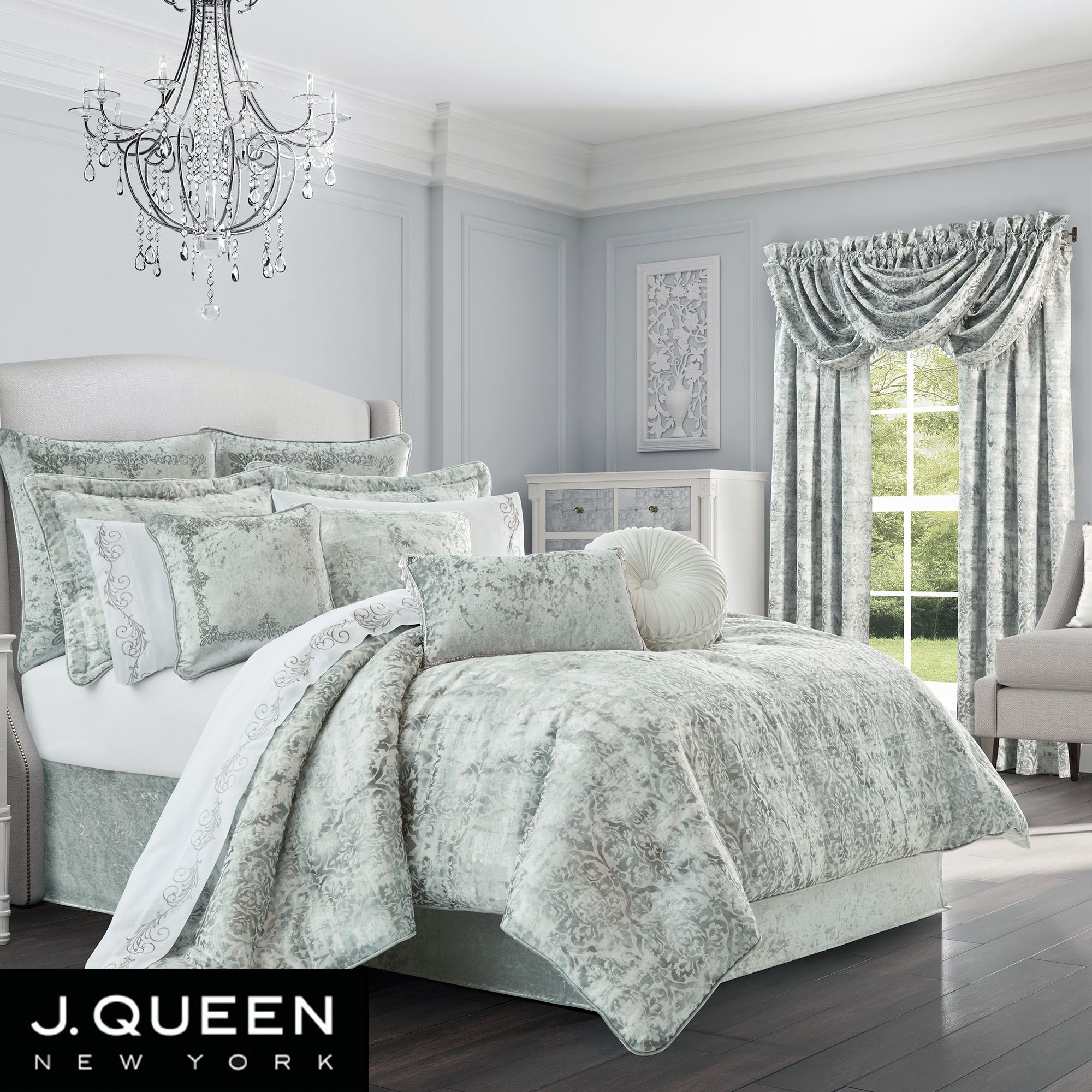 Dream Pale Blue Damask Comforter Bedding by J Queen New York