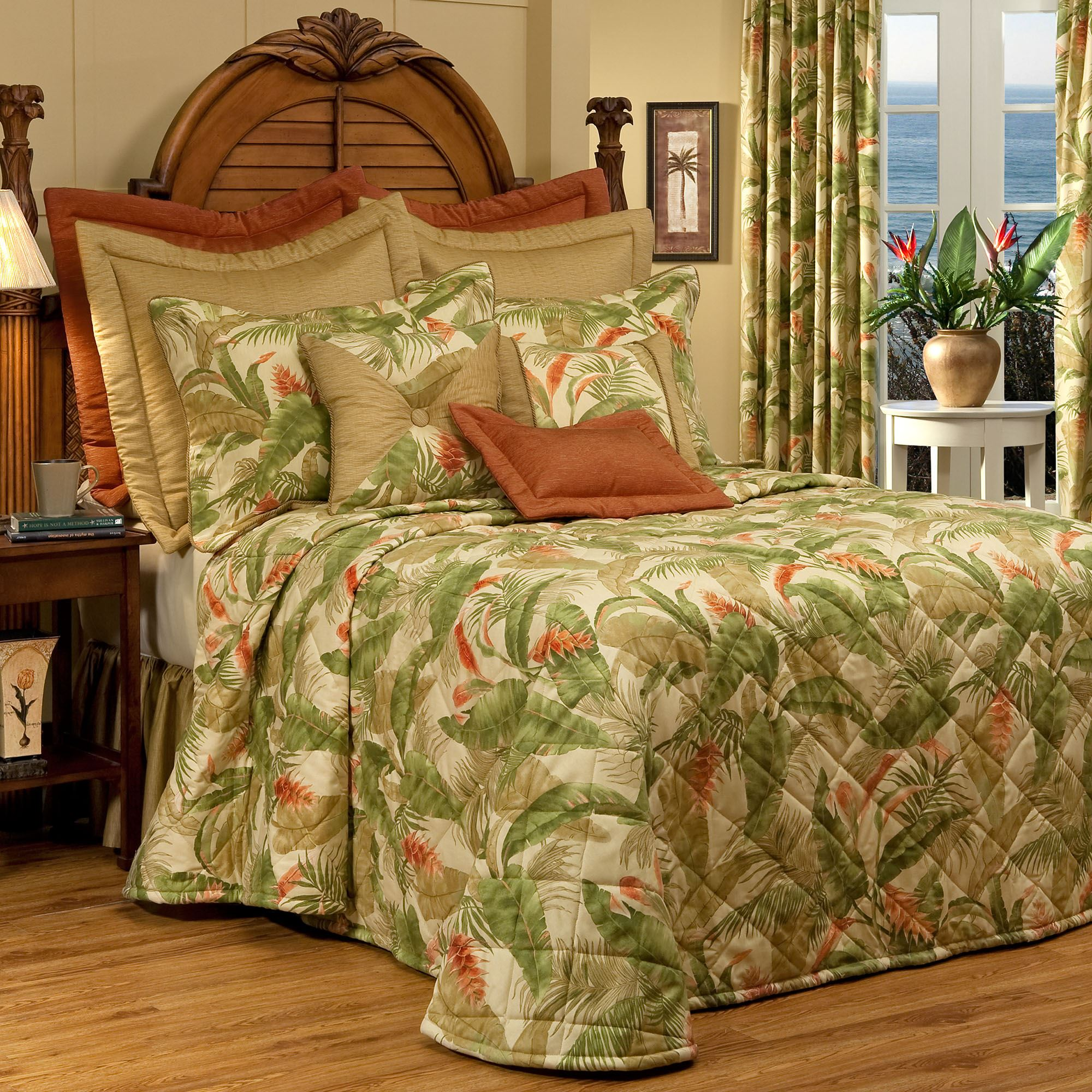 La Selva Ii Light Gold Quilted Tropical Bedspread Bedding