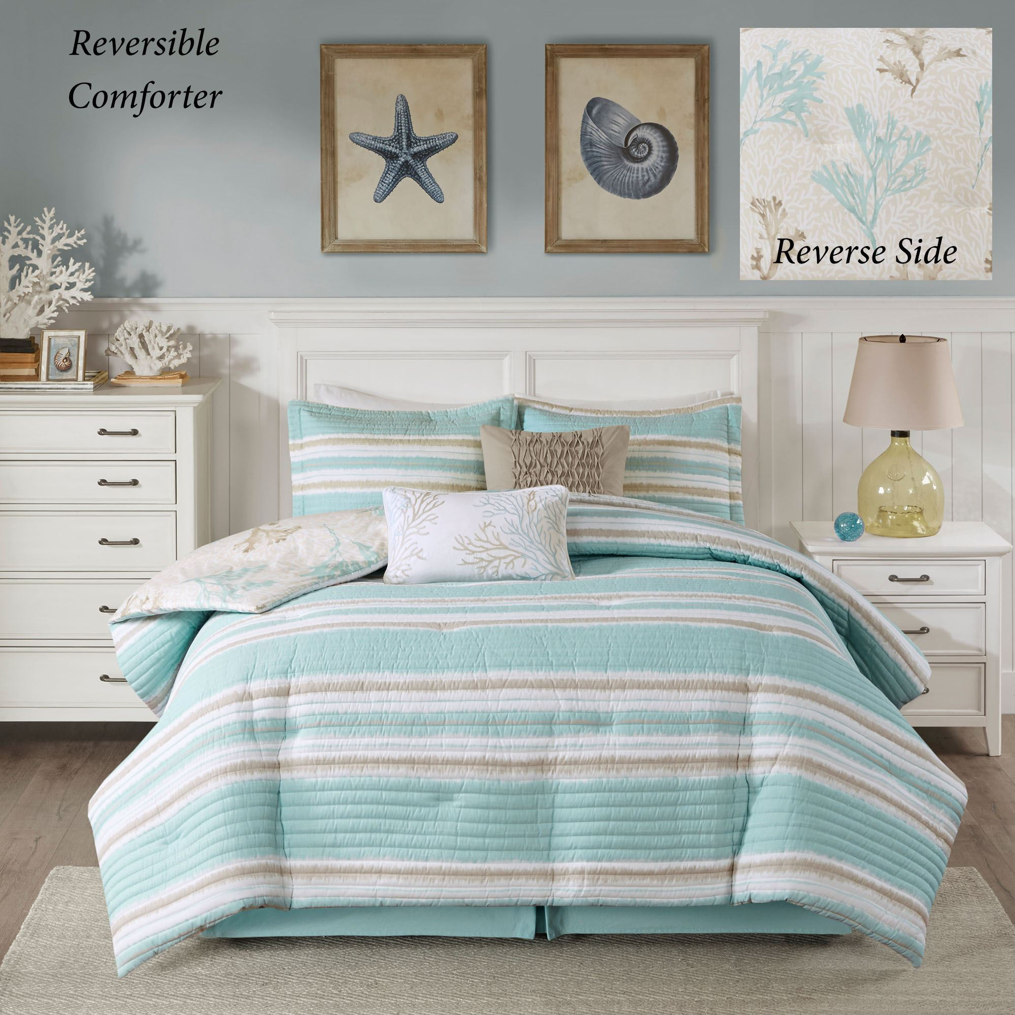 Ocean Reef Turquoise Striped 6 pc Coastal Comforter Bed Set by Harbor House