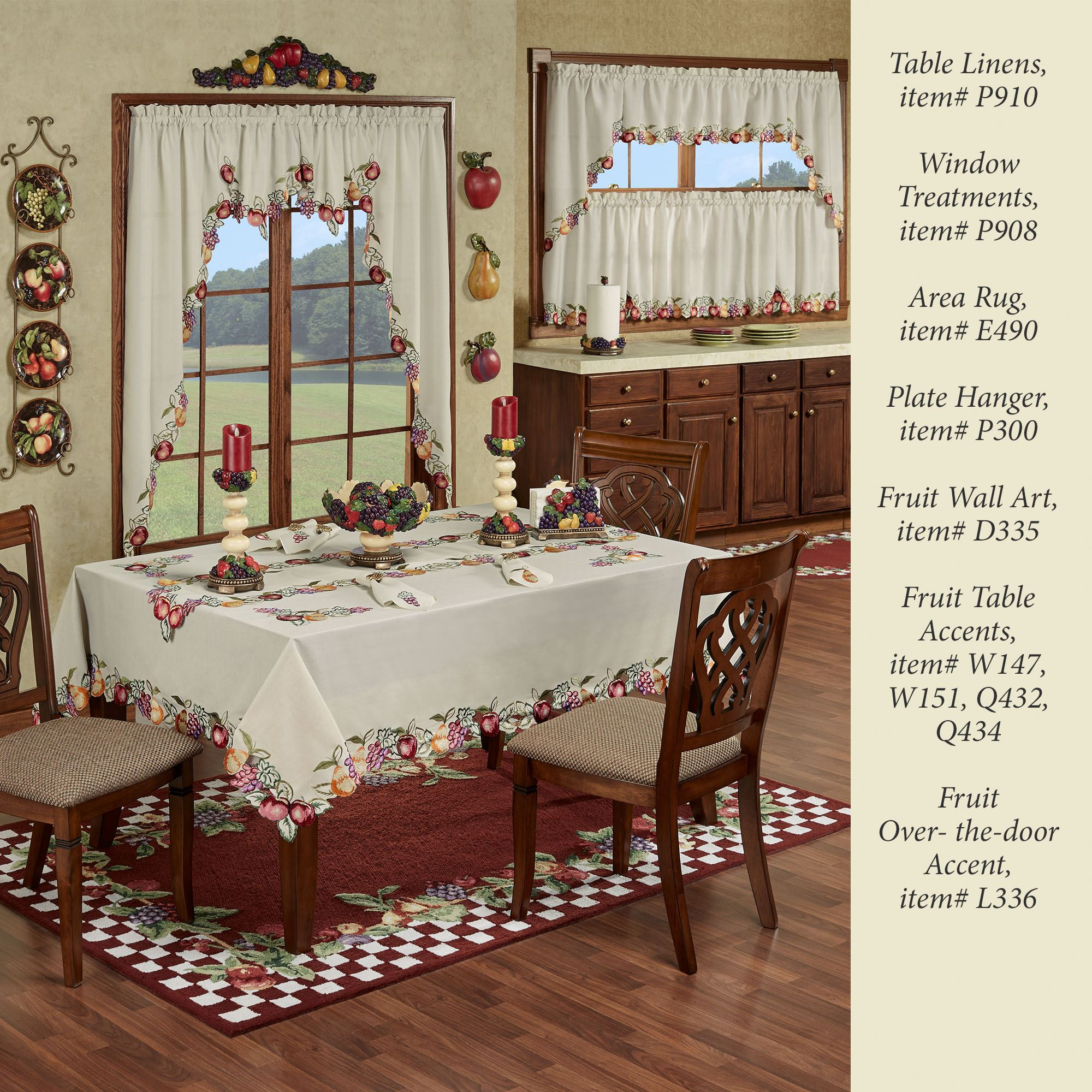 Fruitful Embroidered Tailored Kitchen Tier Window Treatment