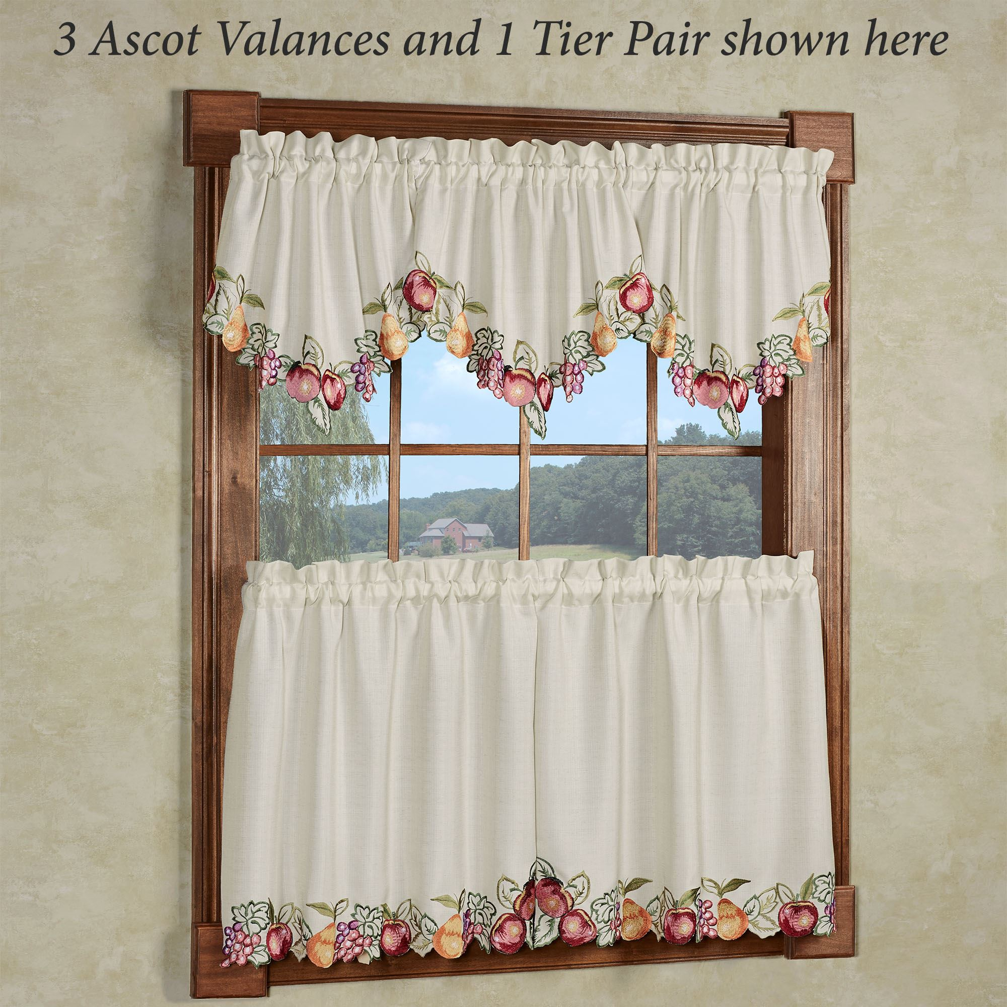 Fruitful Embroidered Kitchen Ascot Valances And Tier Curtains