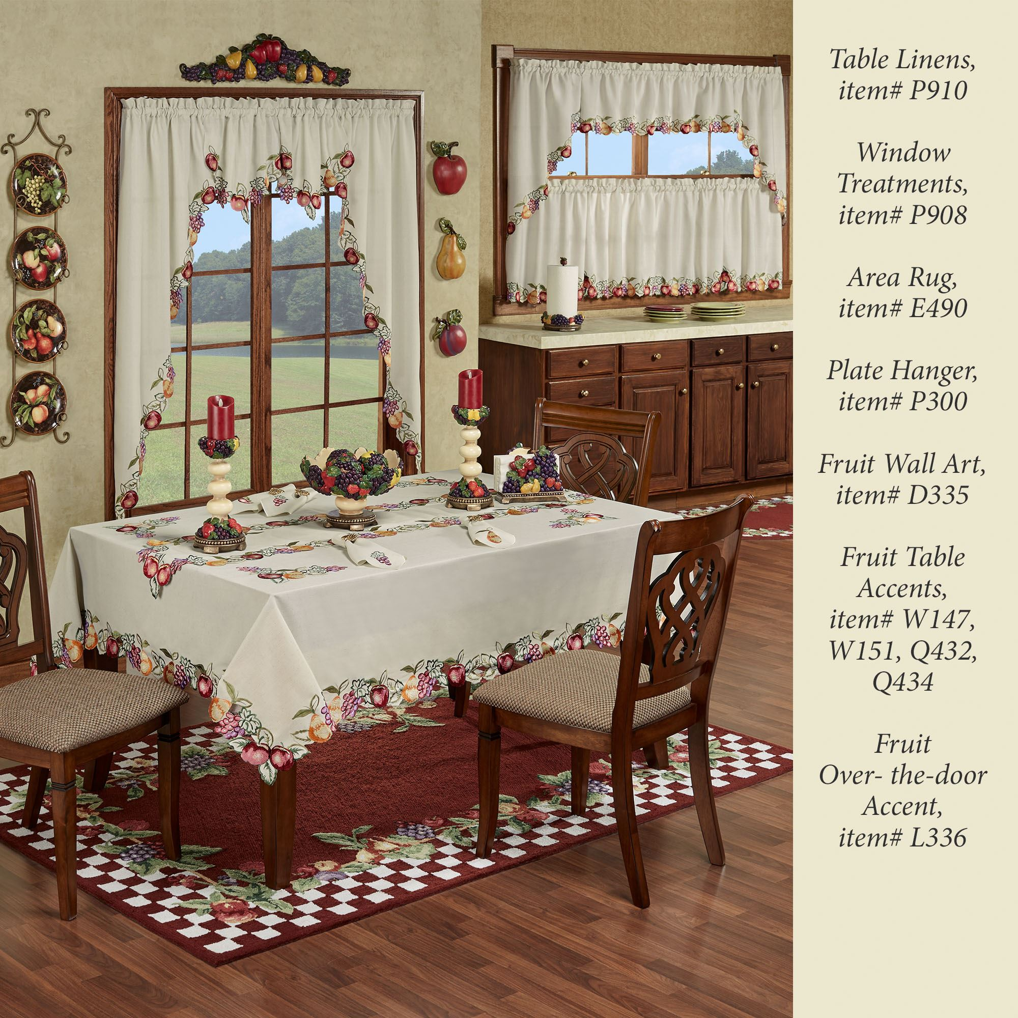 Fruitful Embroidered Long Swag Window Valances