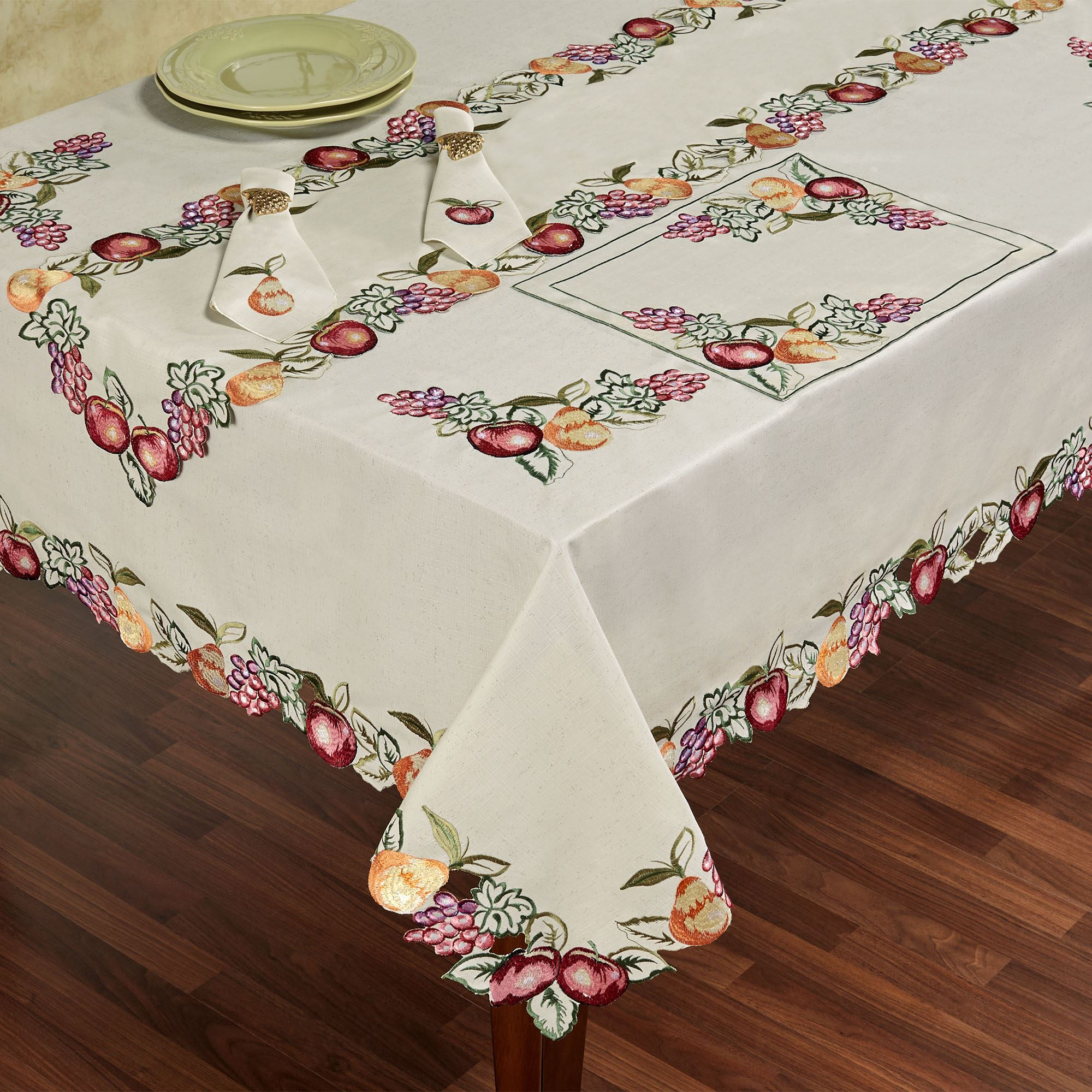 Fruitful Embroidered Dining Table Linens