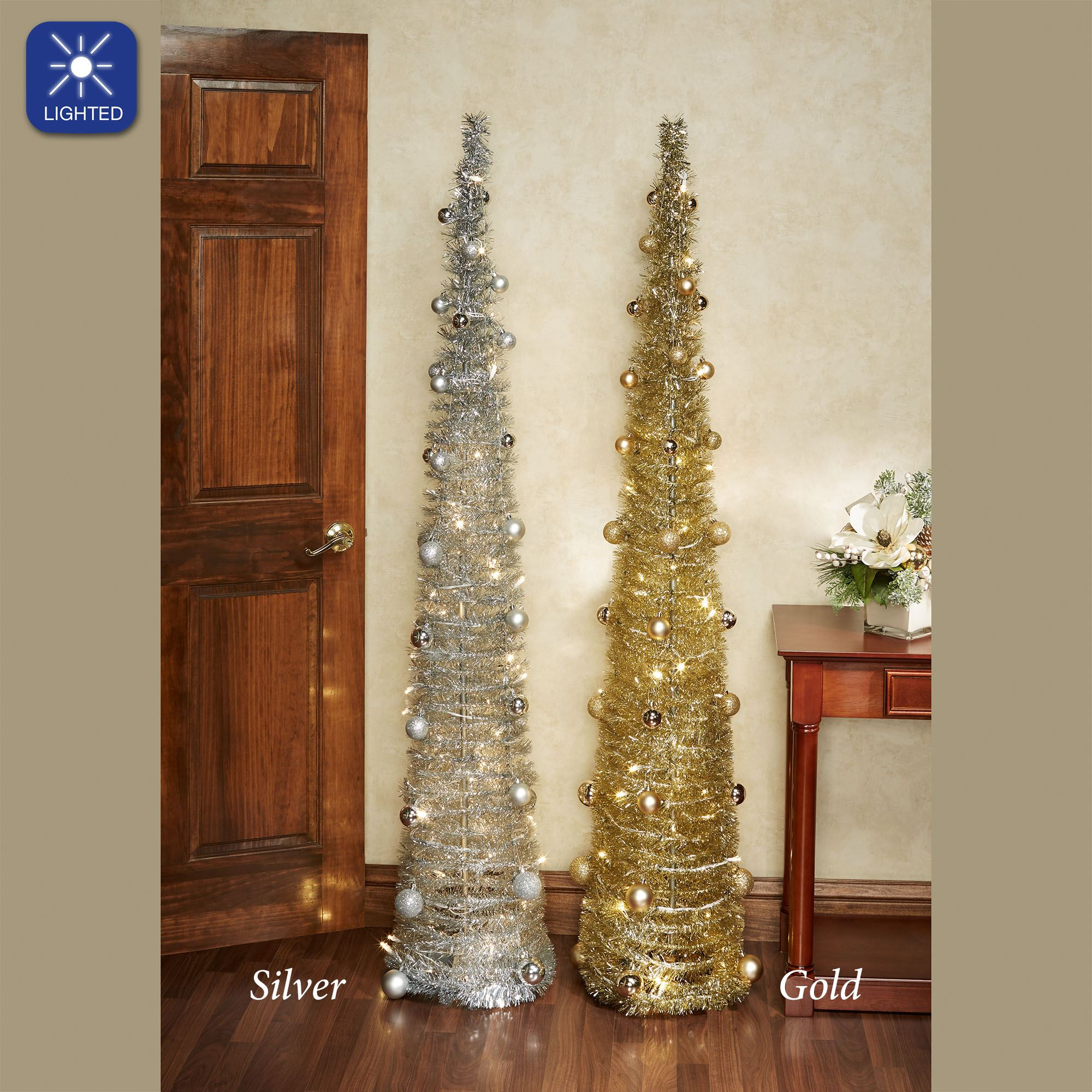 Collapsible Christmas Tree.Collapsible Lighted Slender Tinsel Christmas Tree With Ornaments