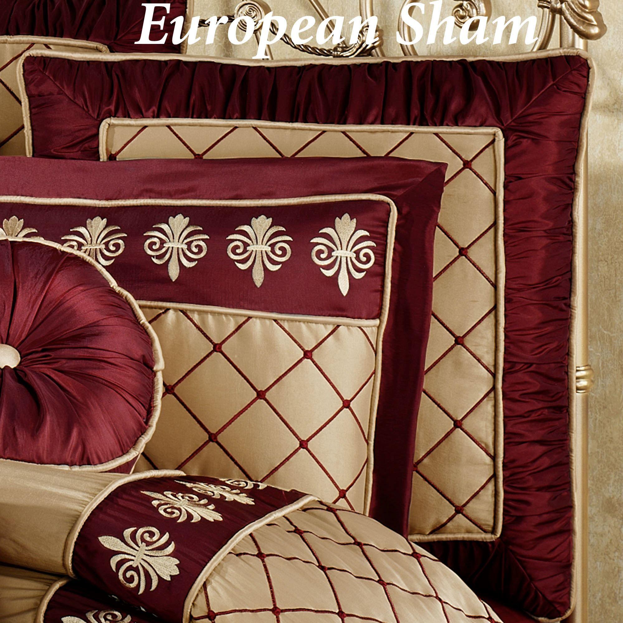 Roman Empire Piped European Sham Gold Burgundy