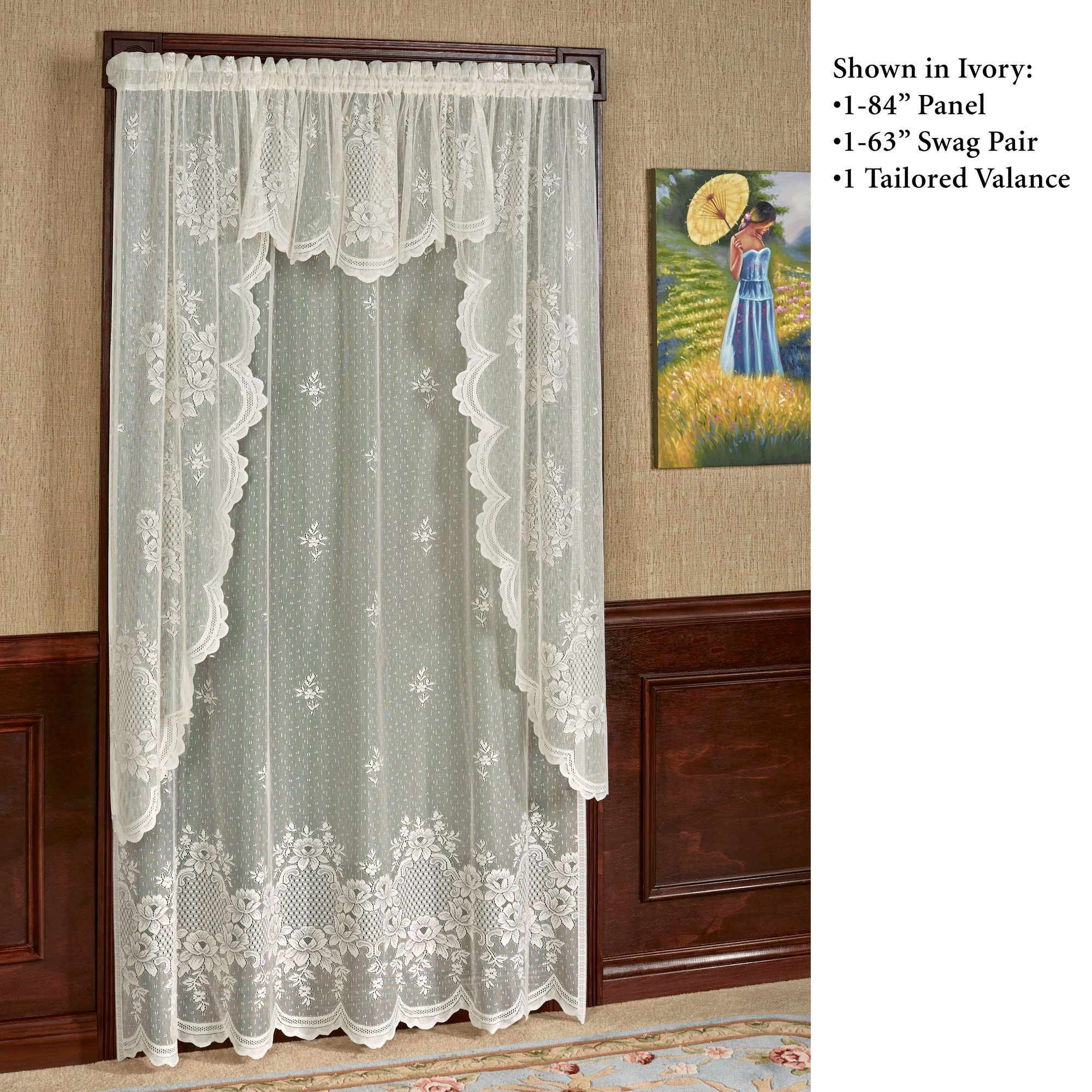 Window Curtains Lace Country Style Flower Embroider Bedroom