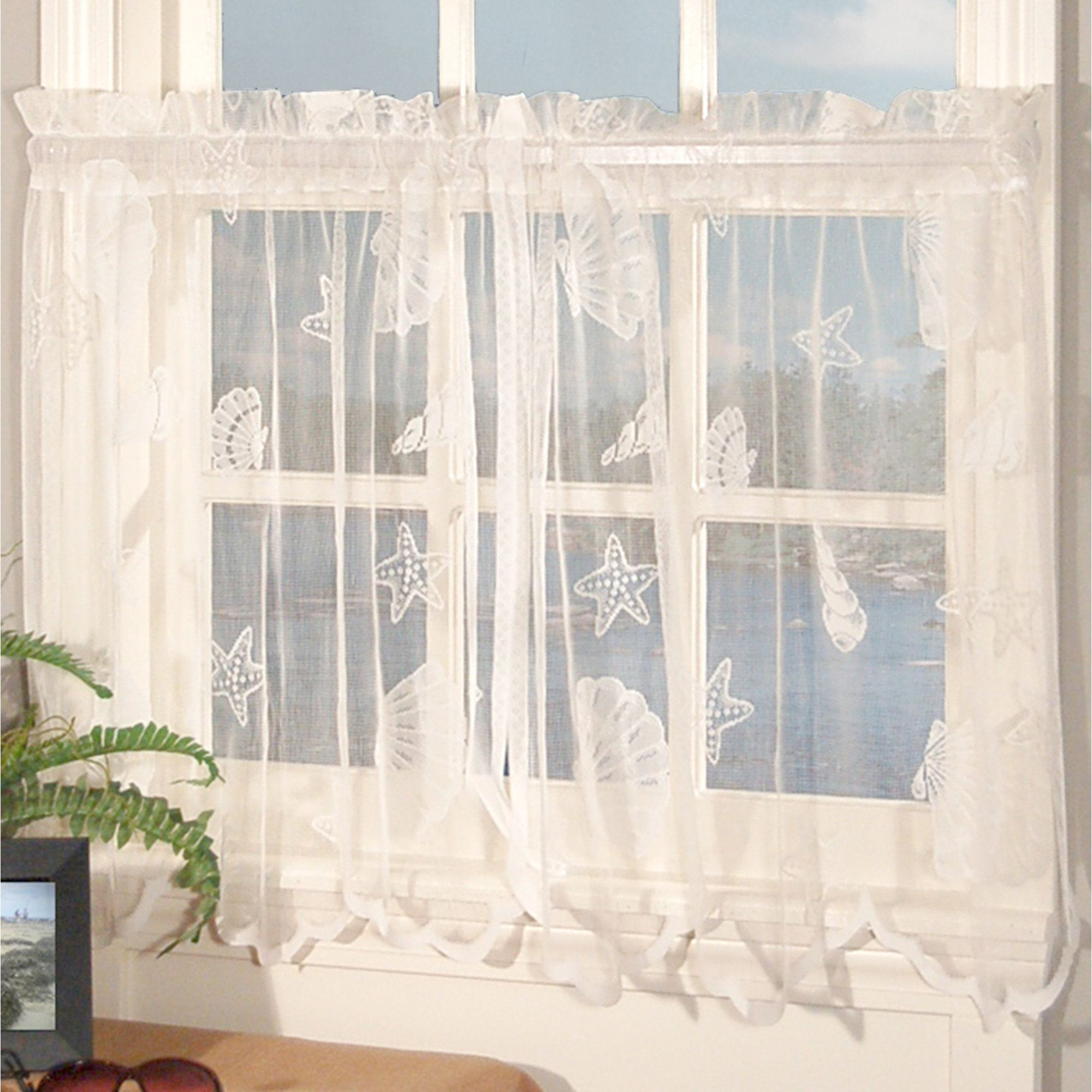 shell rod v tailored lace pair curtain tier seashells curtains window treatment p