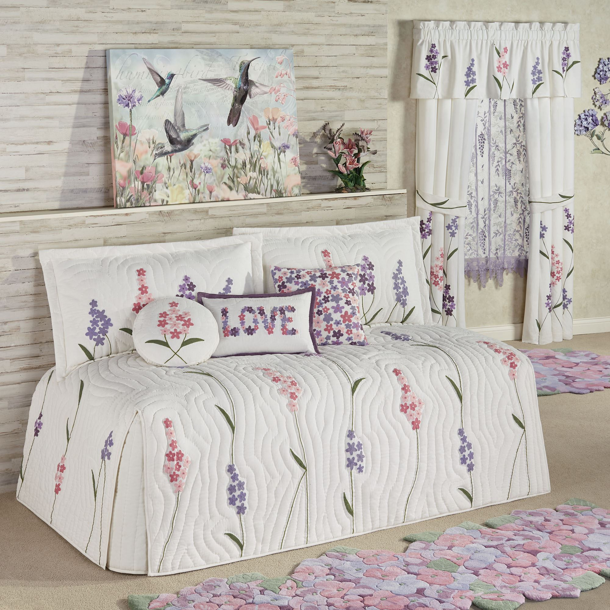 - Wildflowers Floral Quilted Daybed Bedding Set