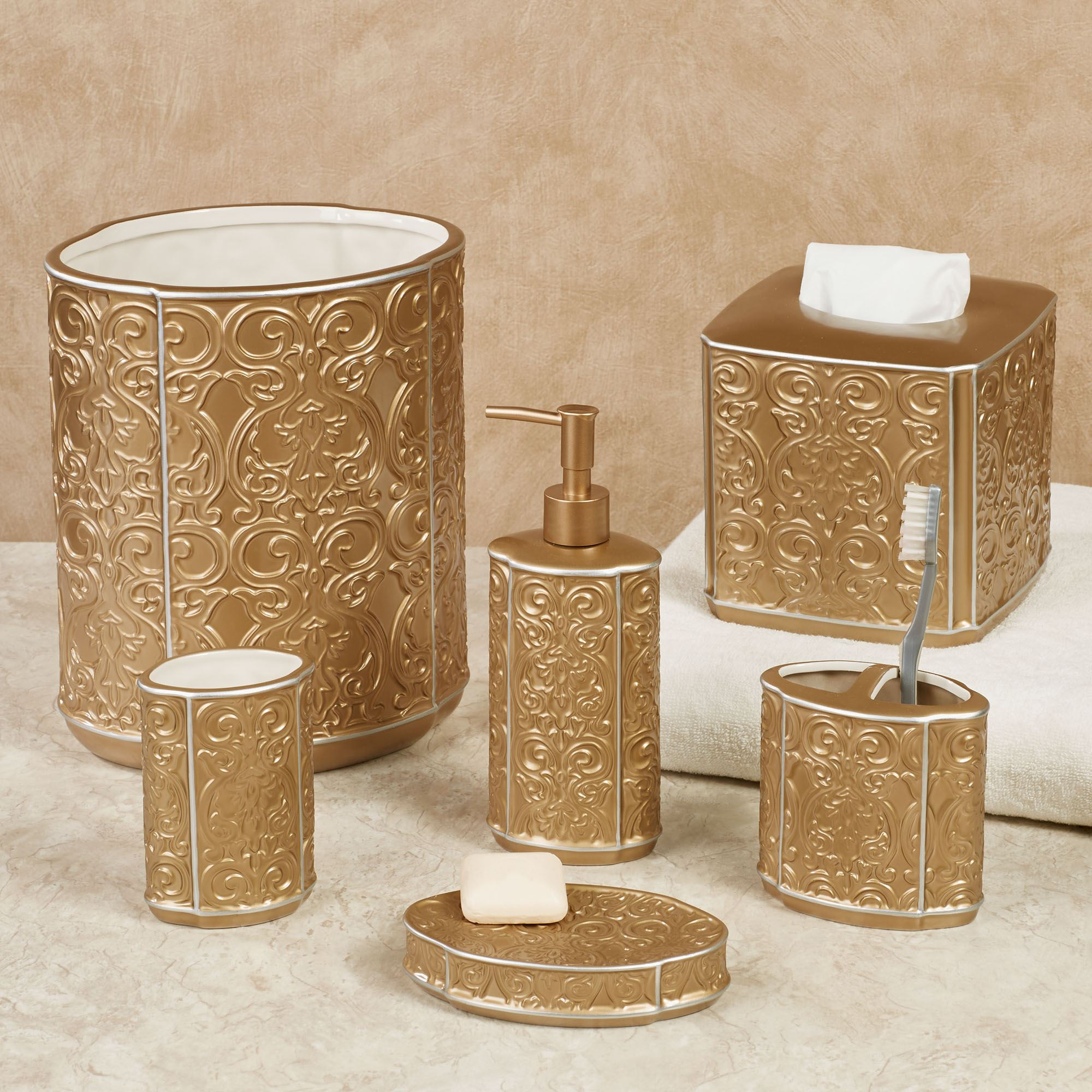 Destiny gold ceramic bath accessories for Bathroom and accessories