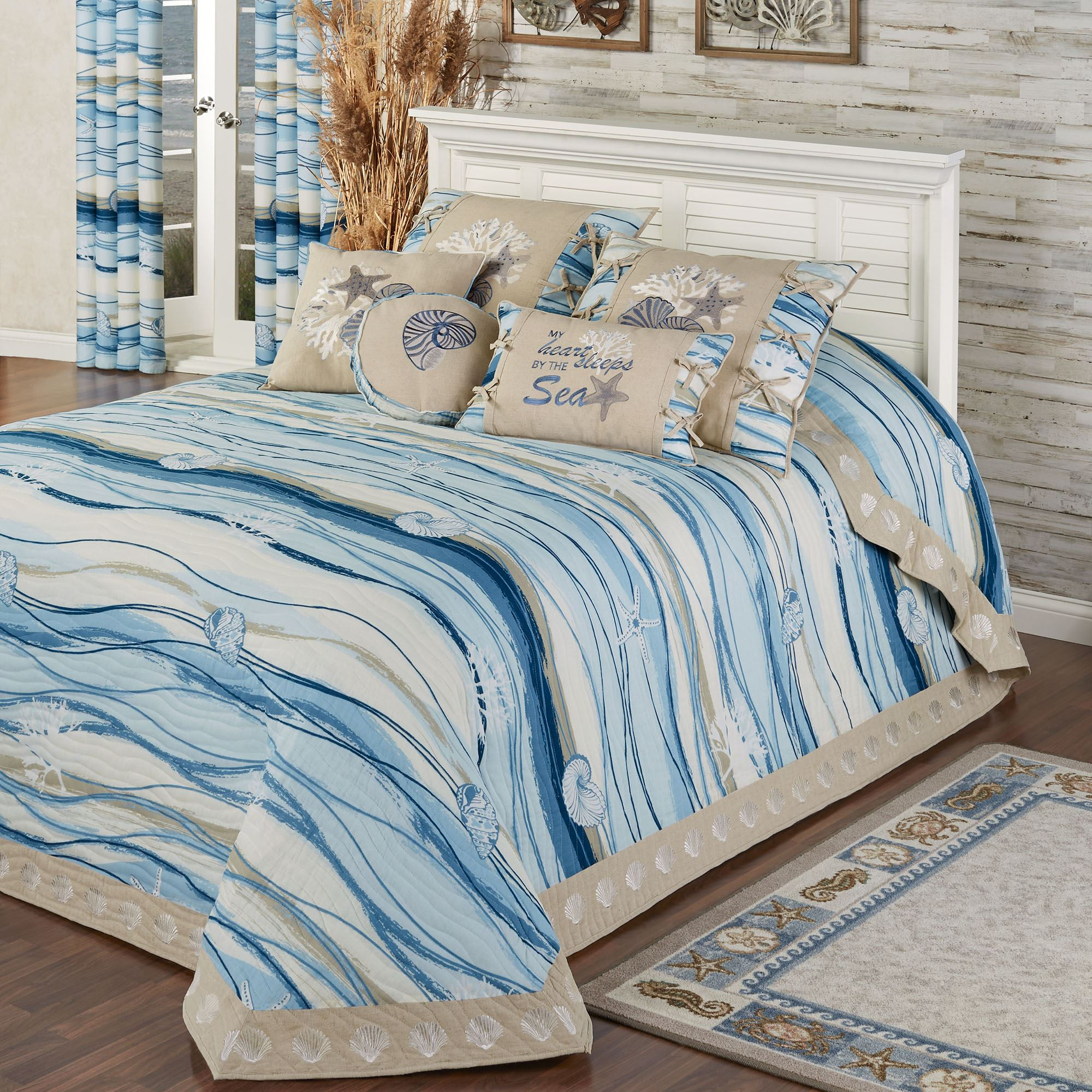 Coastal View Reversible Quilted Oversized Bedspread