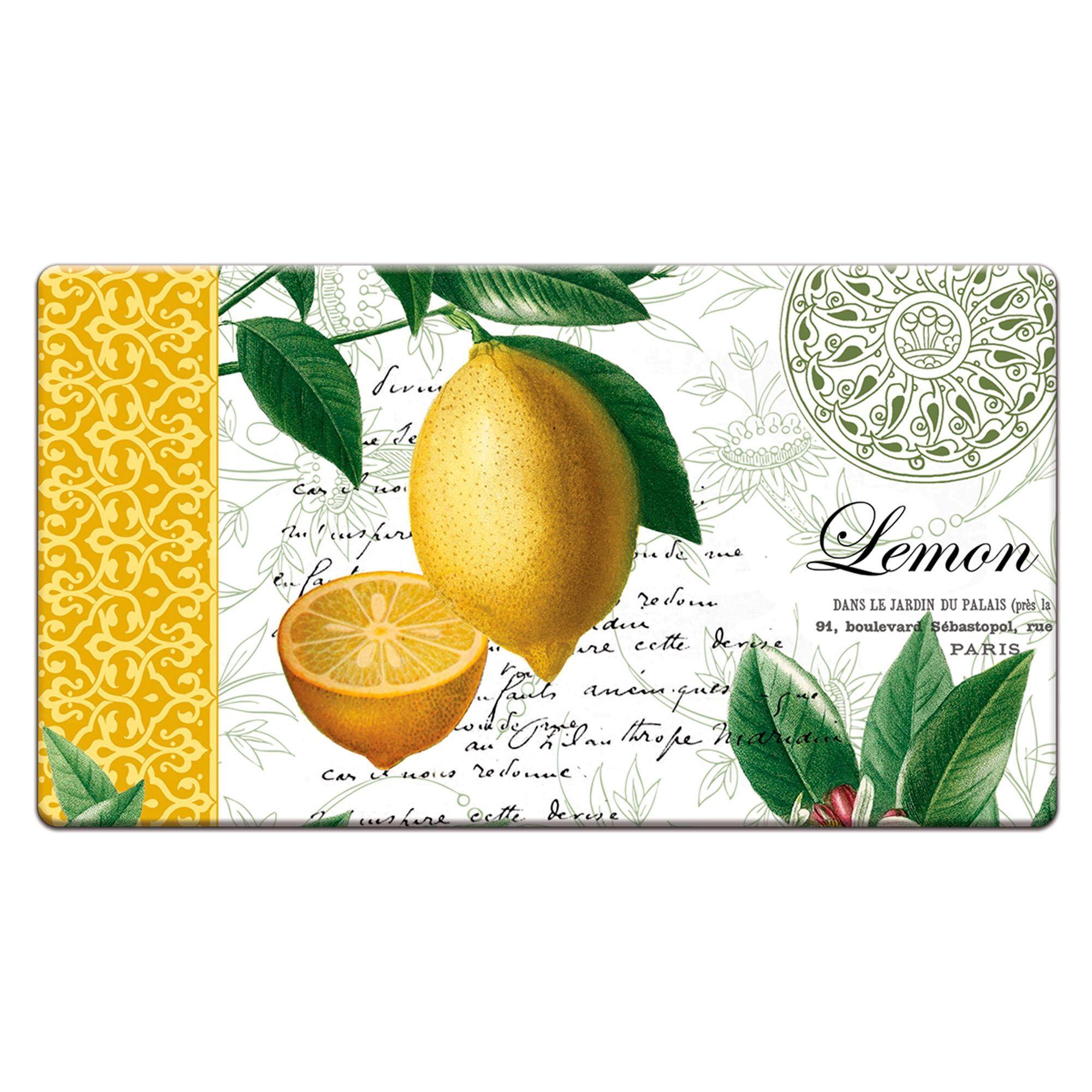 Citron Lemon Memory Foam Cushioned Kitchen Floor Mat