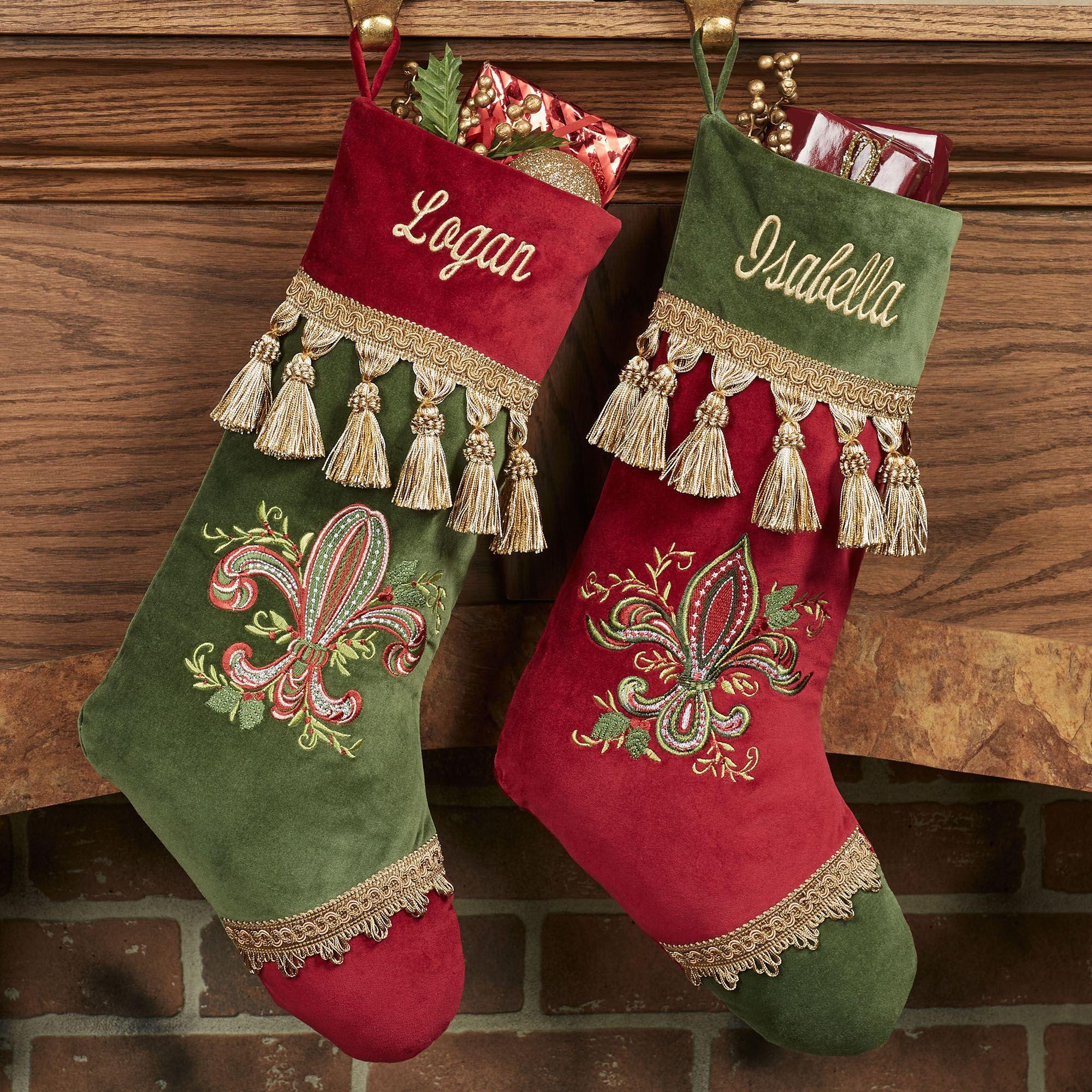 Red Velvet Christmas Stockings.Fleur De Lis Embroidered Cotton Velvet Christmas Stockings