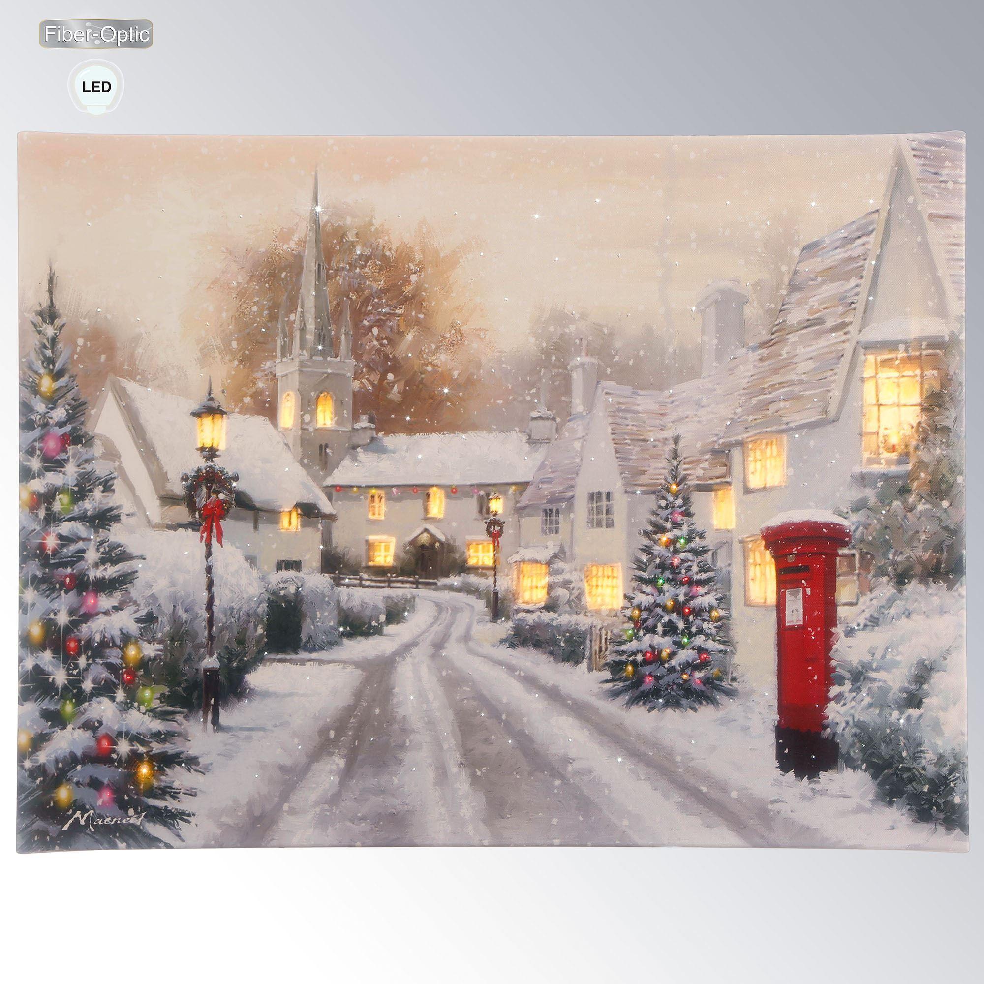 Pleasant Classic Christmas Snowy Town Lighted Canvas Wall Art Interior Design Ideas Skatsoteloinfo