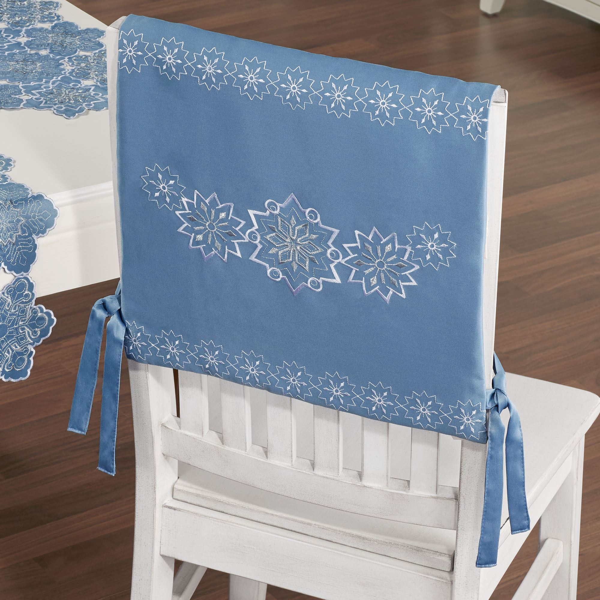 Miraculous Snowfall Celestial Blue Winter Chair Cover Set Of 2 Bralicious Painted Fabric Chair Ideas Braliciousco