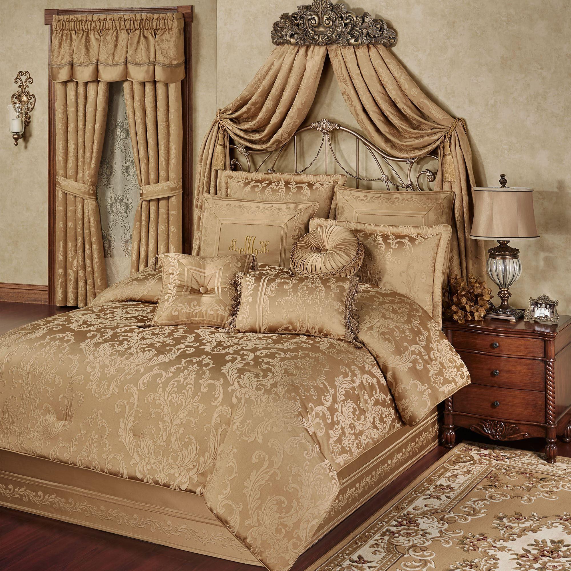 Monaco Gold Damask Comforter Bedding
