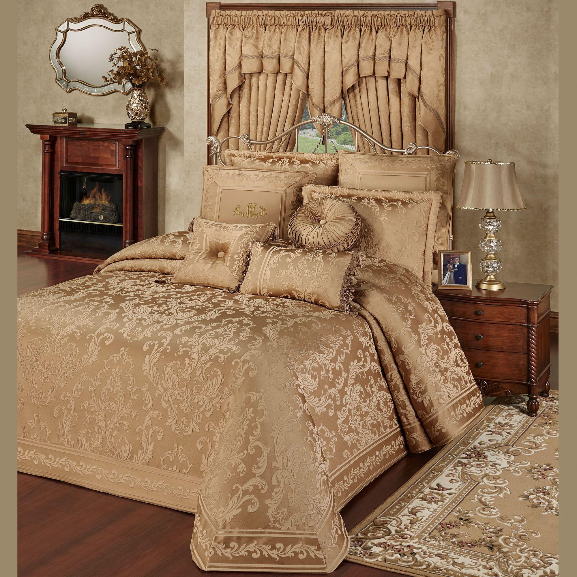Monaco Gold Damask Oversized Bedspread Bedding