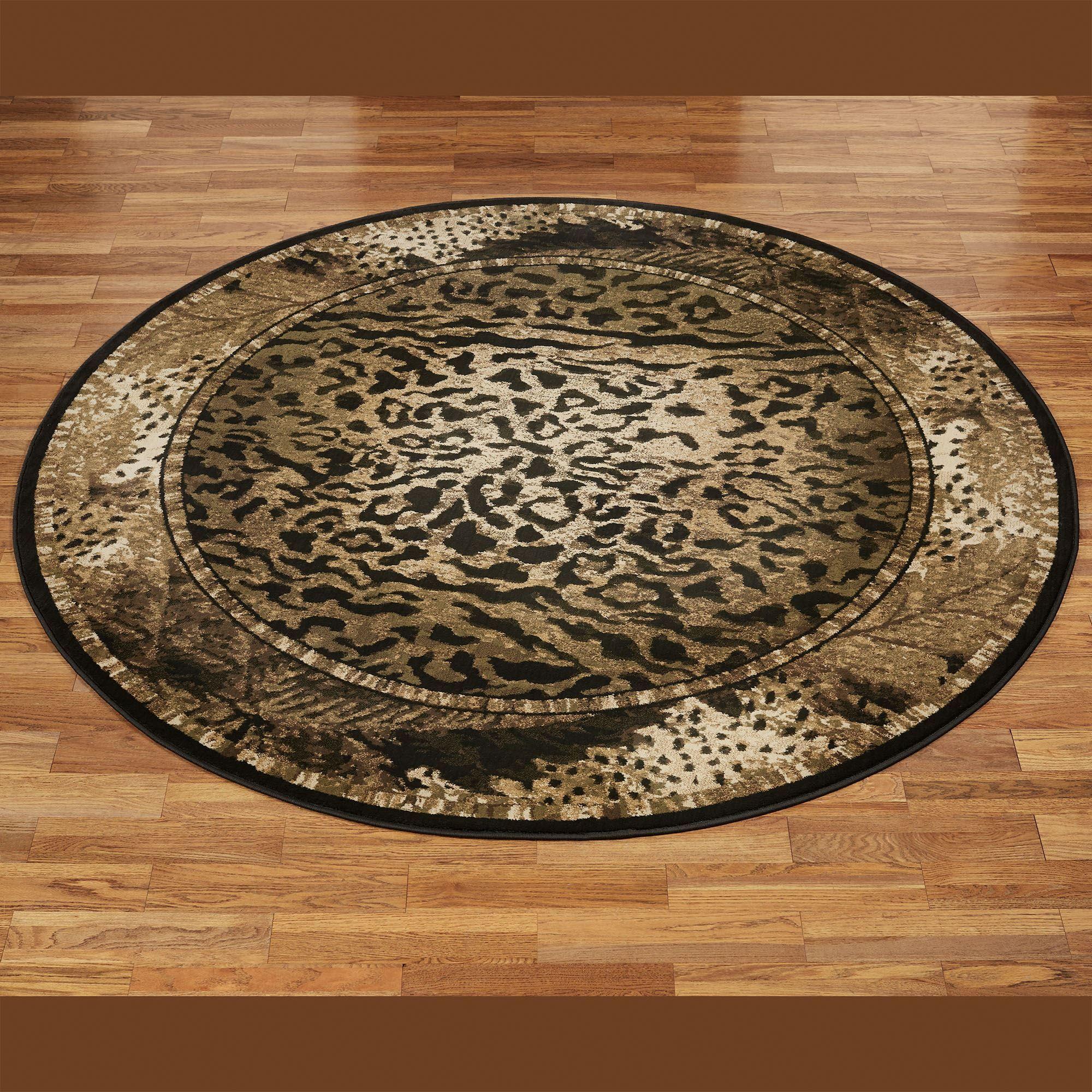 Exotic Journey Cheetah And Leopard Animal Print Safari Round Rug