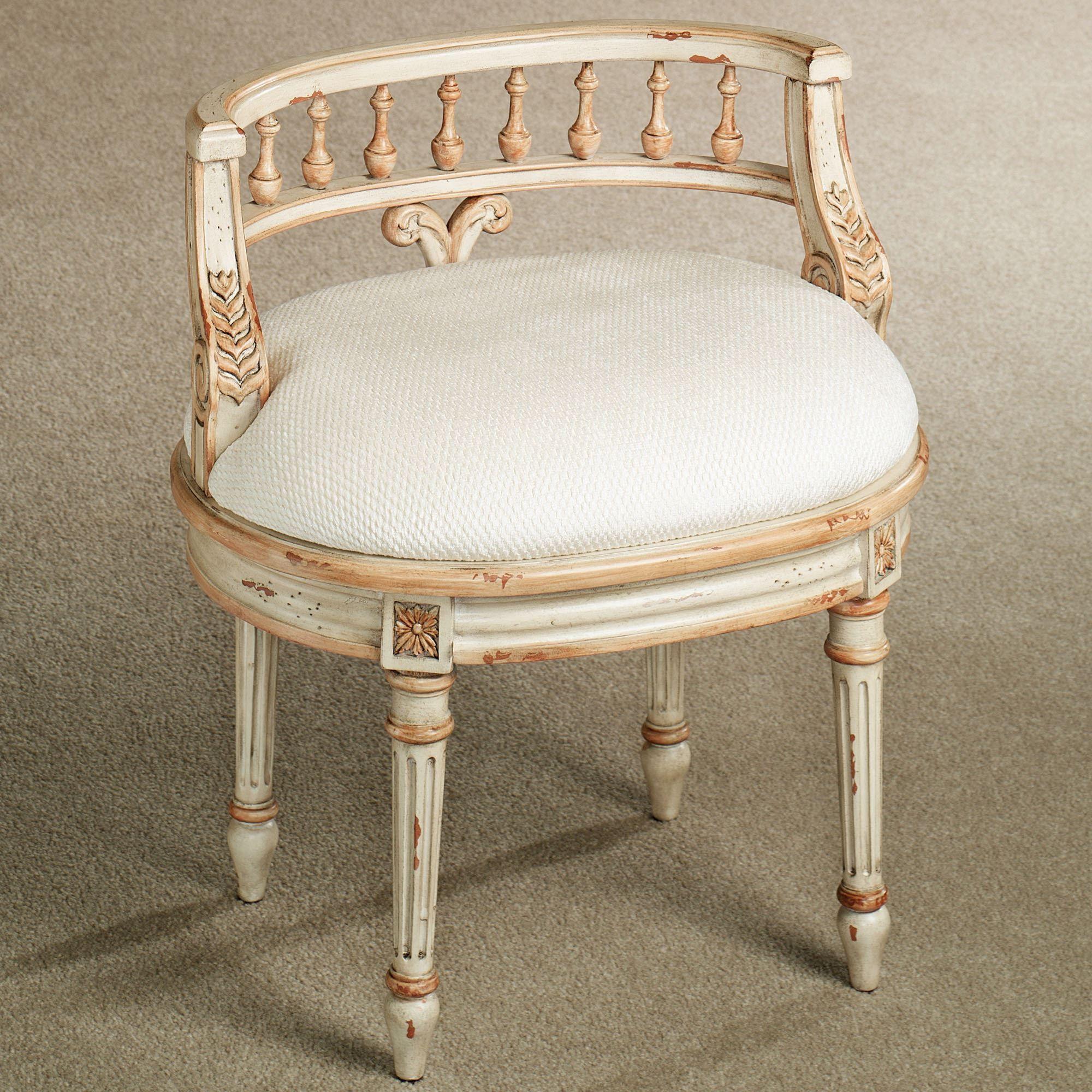 Queensley Upholstered Antique Ivory Vanity Chair