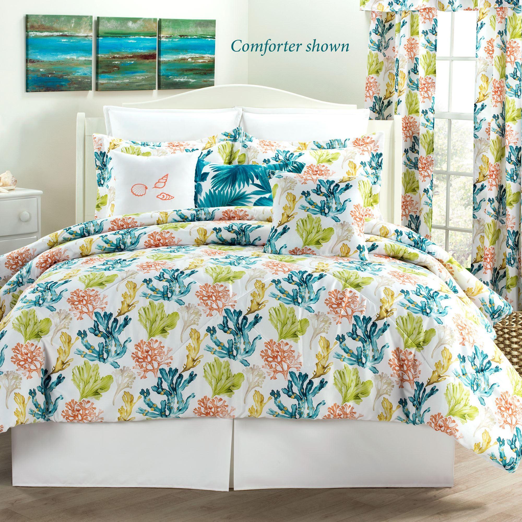 Ocho Rios Coral Motif Coastal Mini Comforter Set Bedding