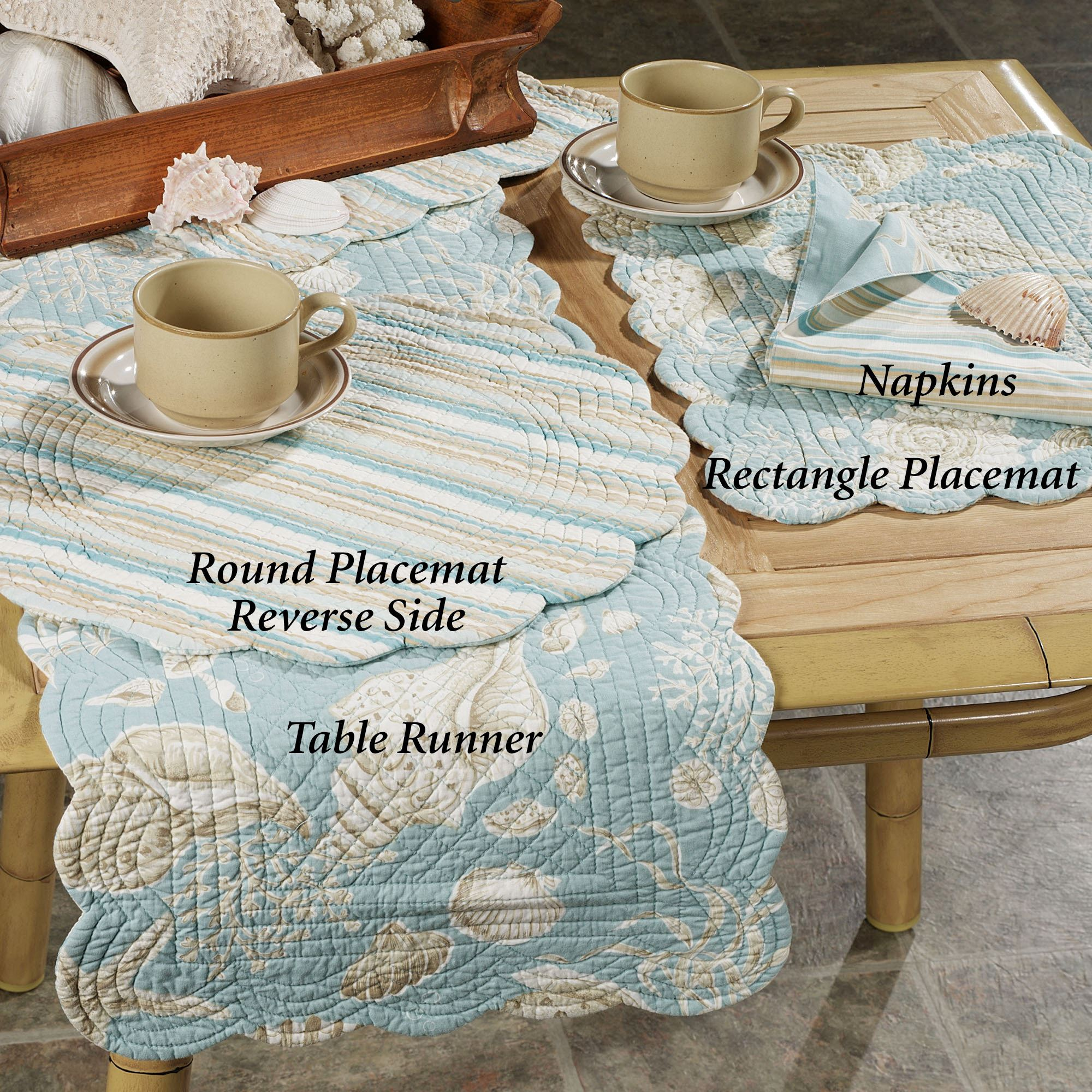 Natural Shells Reversible Napkin Set Set of Four & Natural Shells Reversible Quilted Table Linens