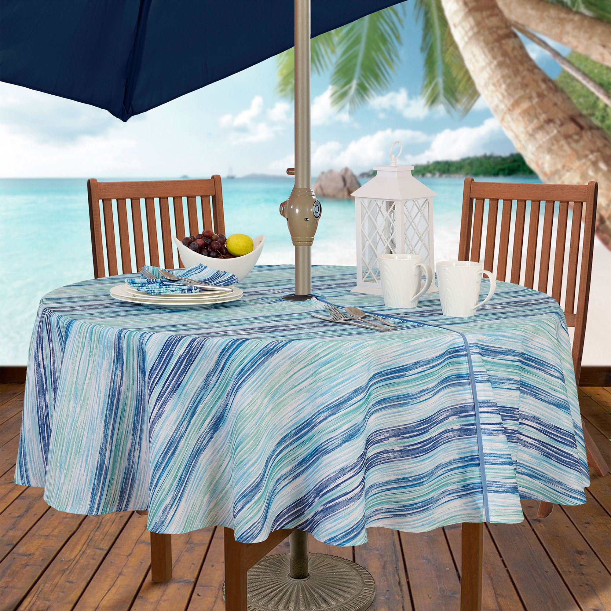 Brush Stroke Zippered Round Tablecloth Blue 70 Diameter
