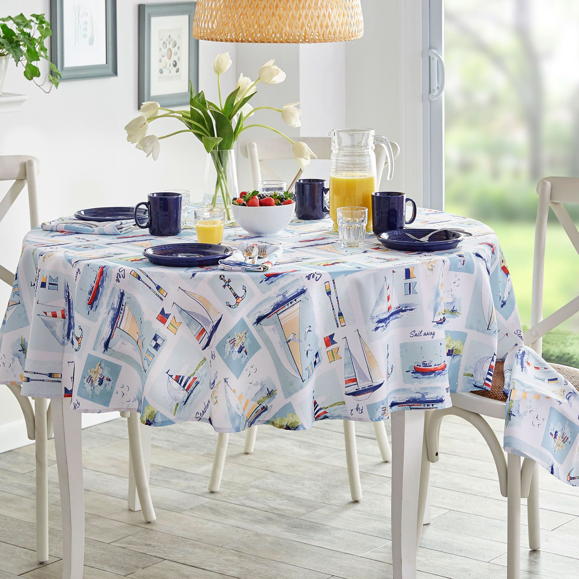 Set Sail Nautical Stain And Water Resistant Indoor Outdoor Table Linens