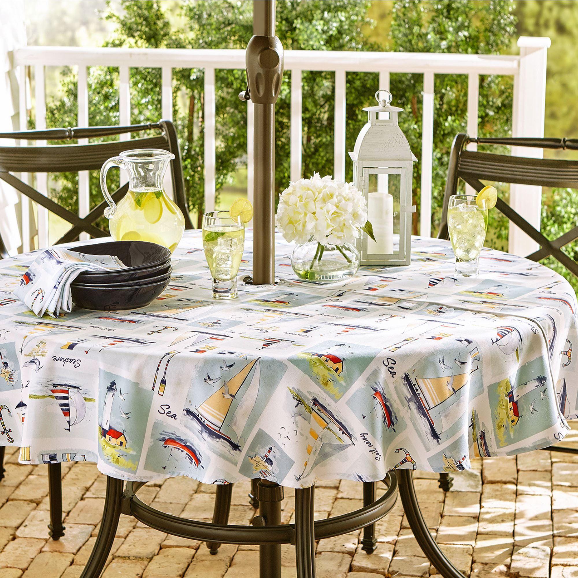 Set Sail Nautical Round Outdoor Tablecloth With Umbrella