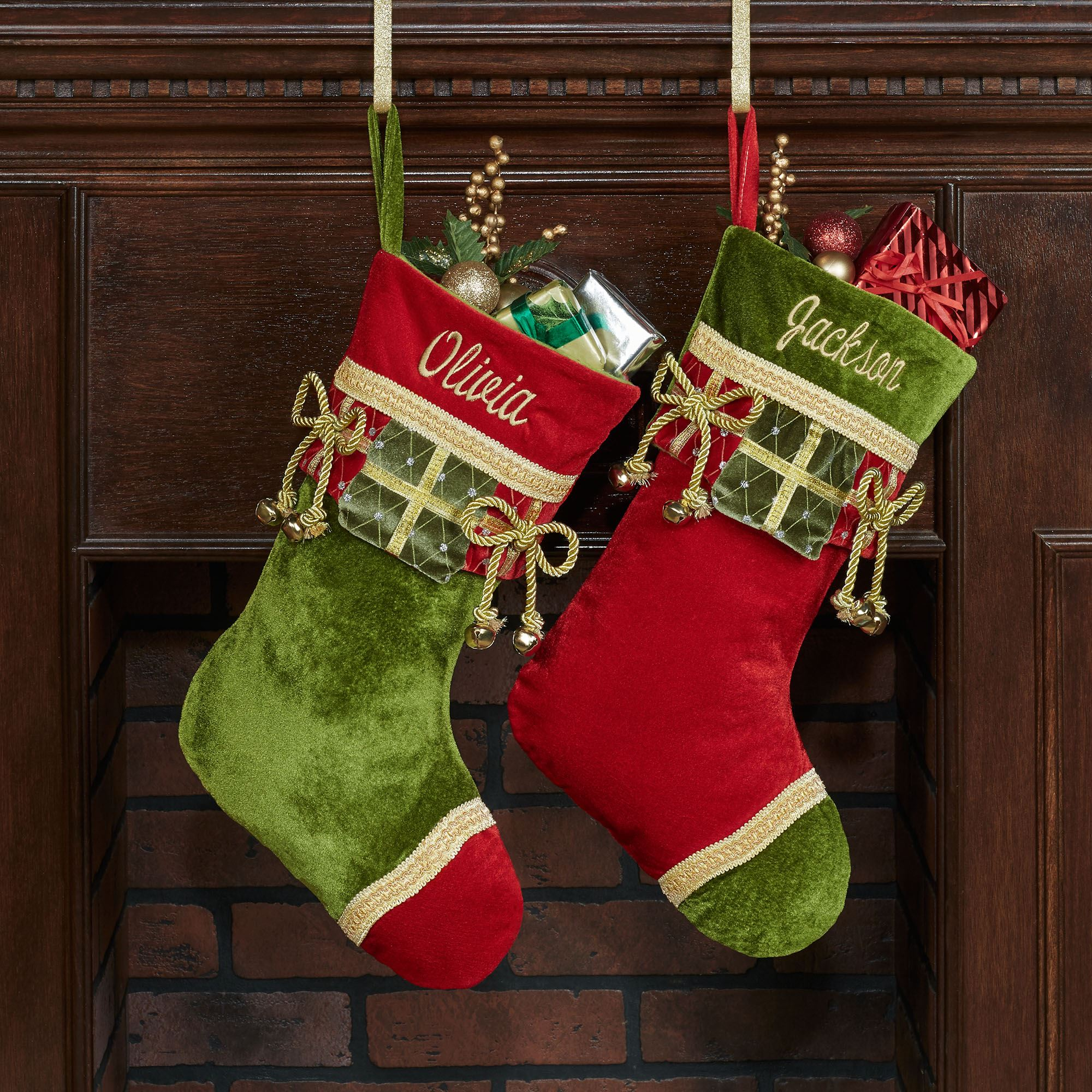 christmas present velveteen stockings green christmas present stocking touch to zoom - Red And Green Christmas Stockings