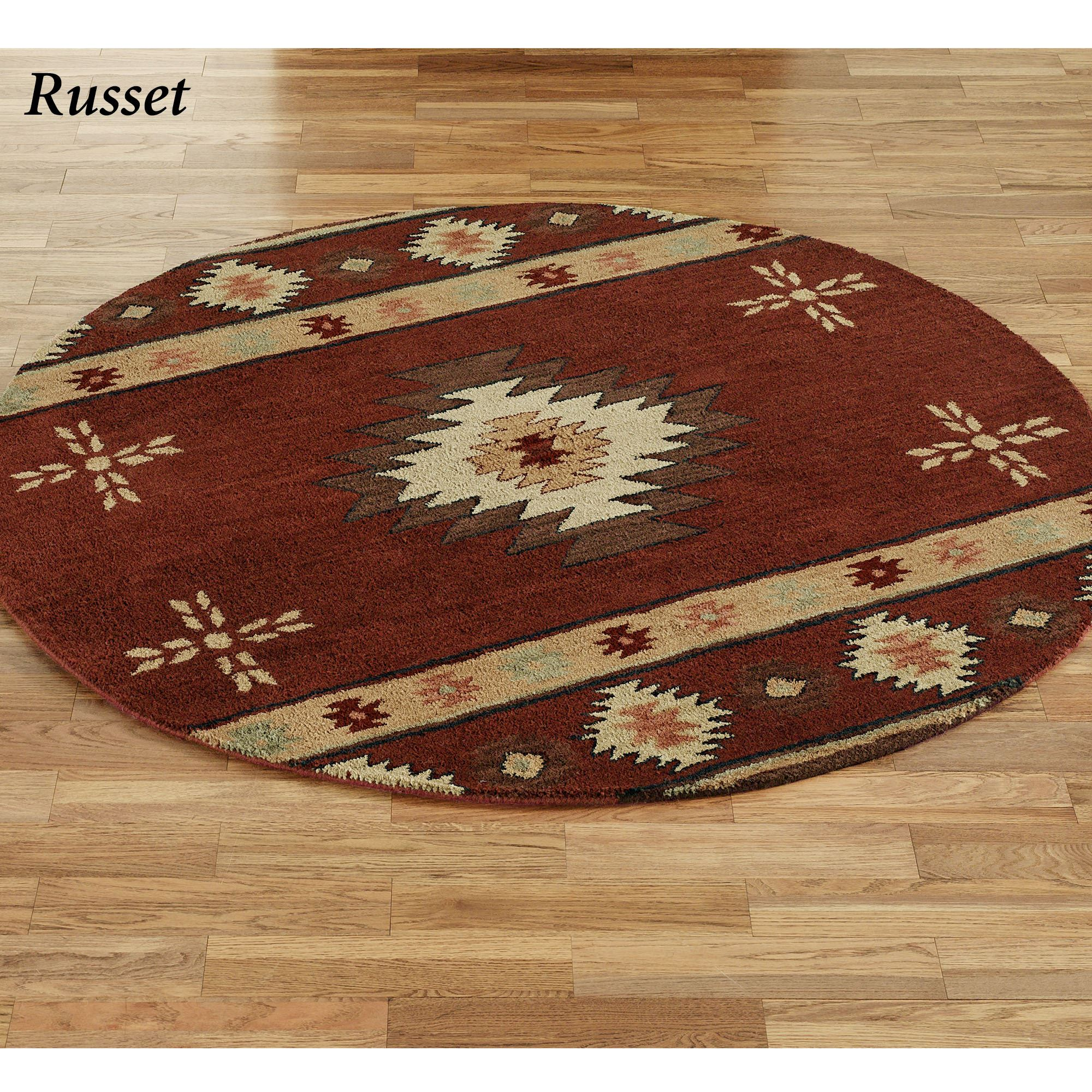 Large Western Rugs: Southwest Diamond Round Rugs