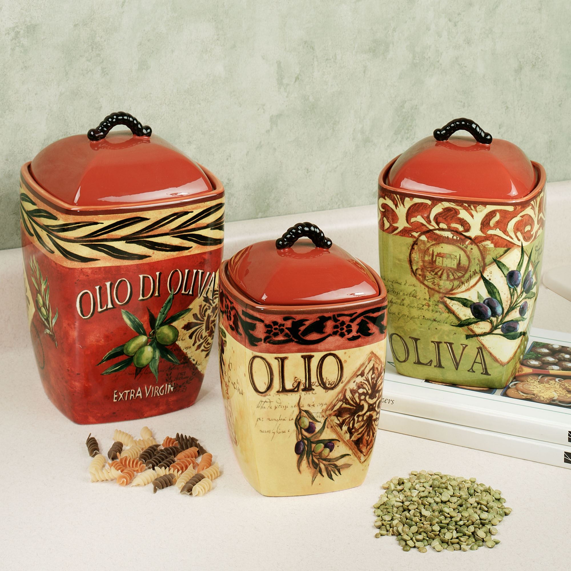 decorative kitchen canister sets olio olives kitchen canister set 5504