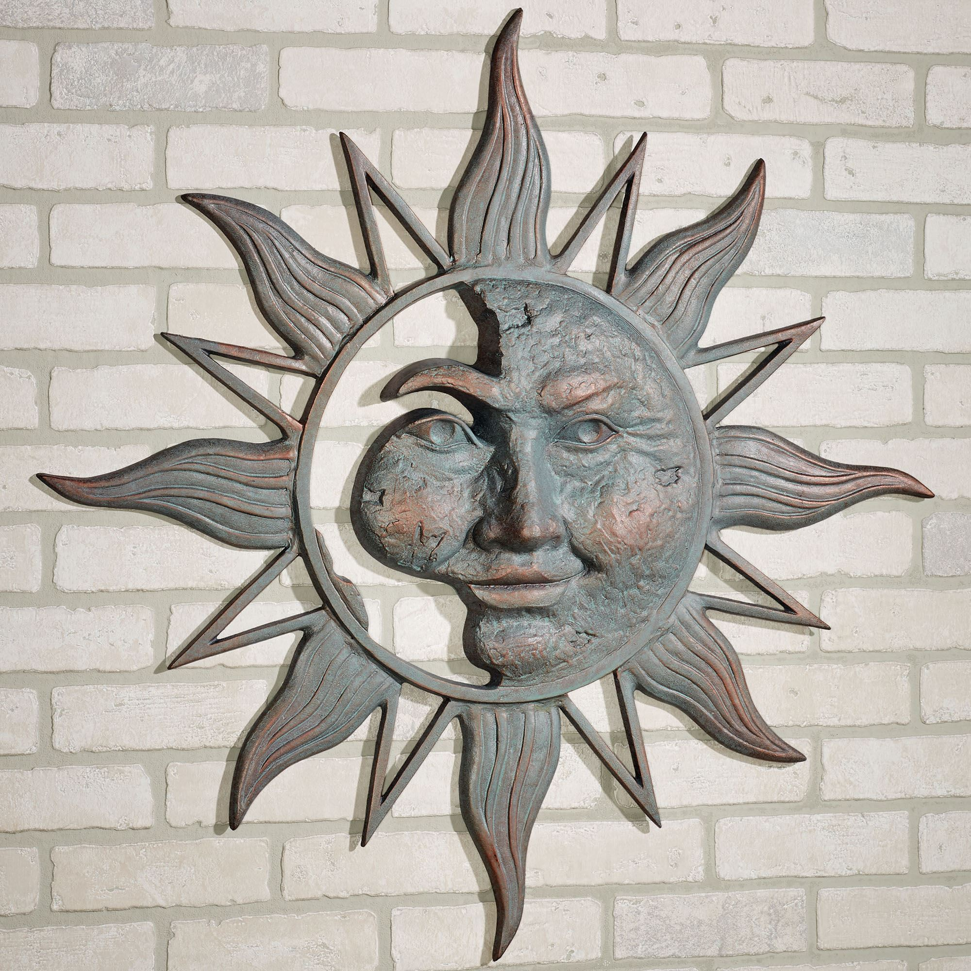 Metal Plaque Wall Decor Half Face Sun Indoor Outdoor Metal Wall Art