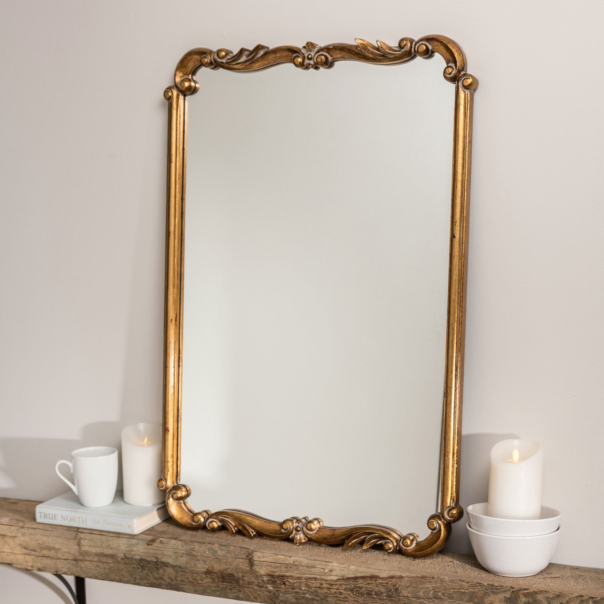 Kasandra Antique Gold Scroll Wall Mirror