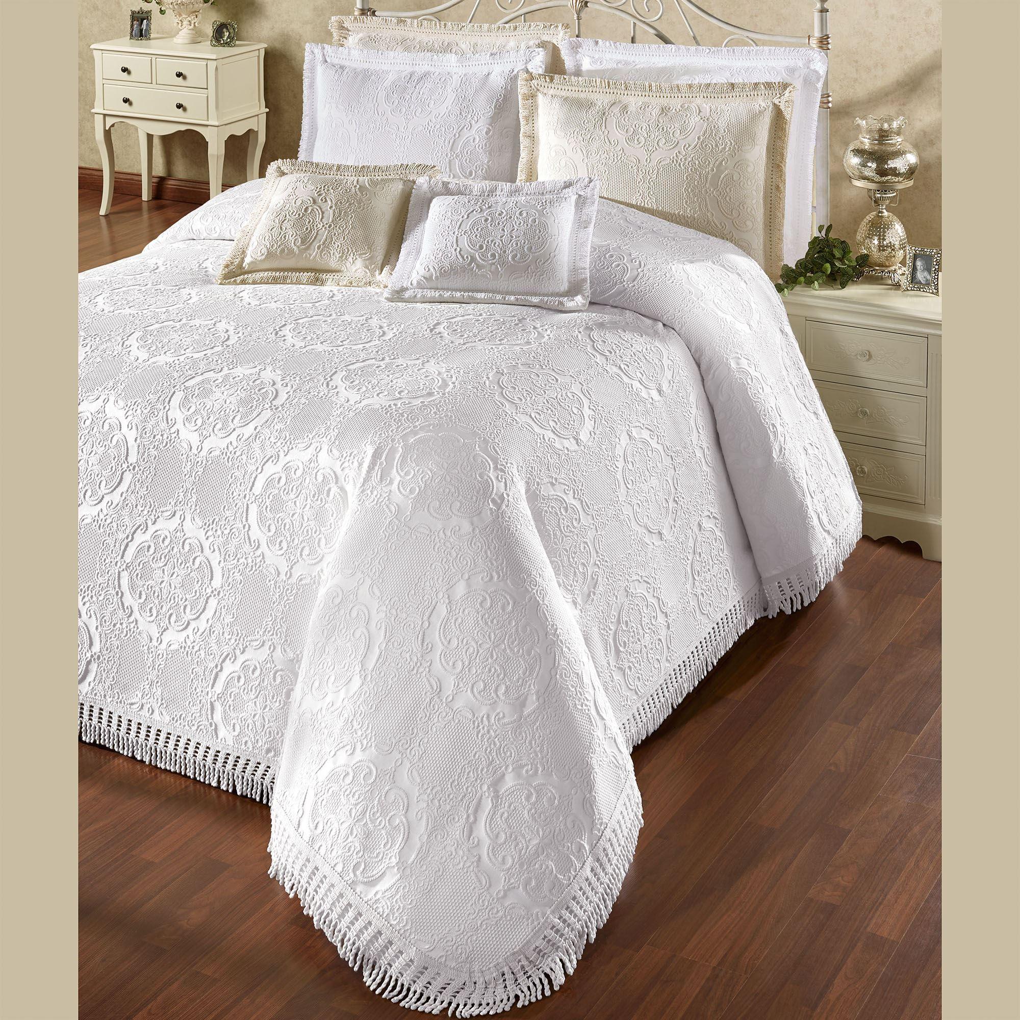 Elegant Medallion White Woven Matelasse Oversized Bedspread