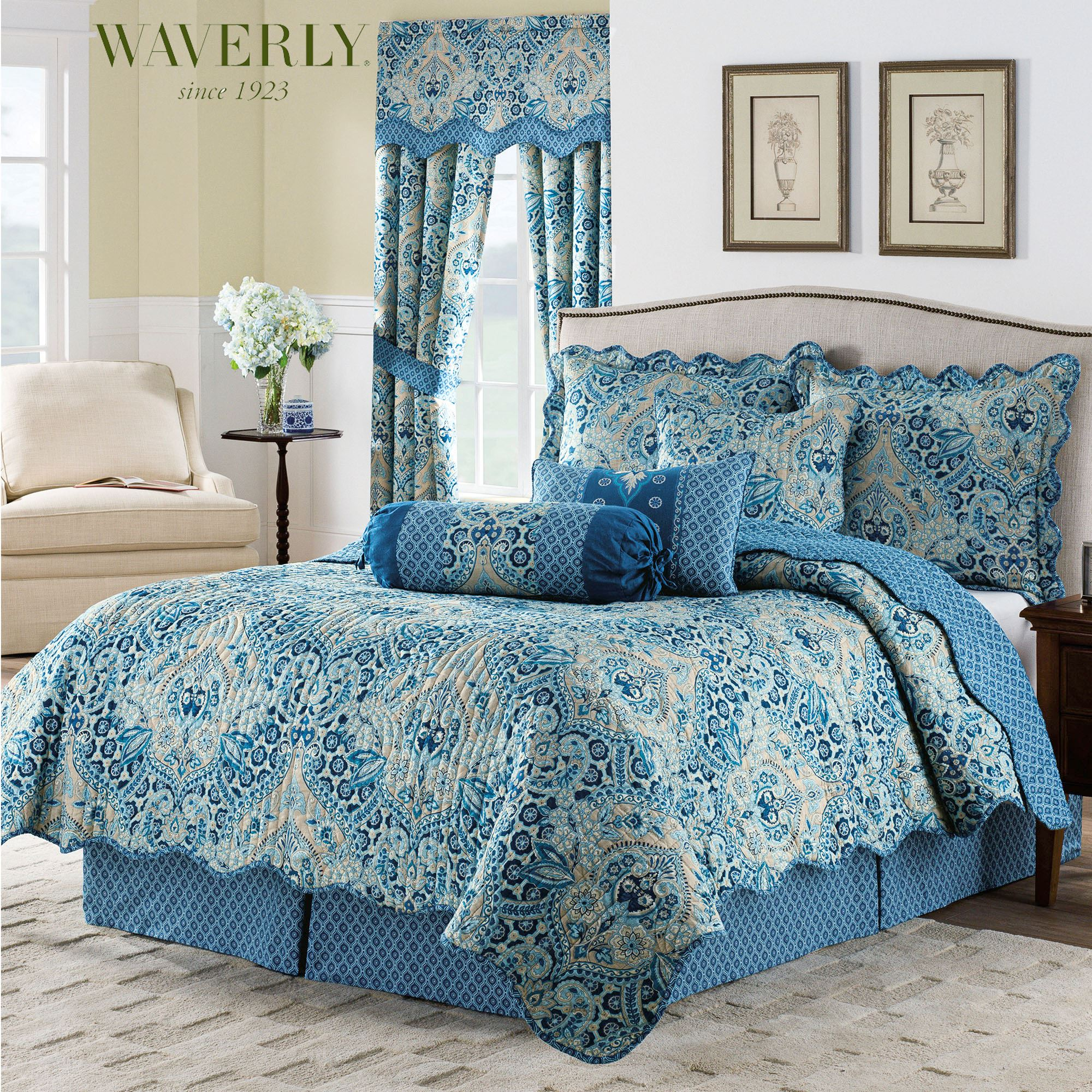 Moonlit Shadows Reversible Blue Quilt Set by Waverly : blue quilts bedding - Adamdwight.com