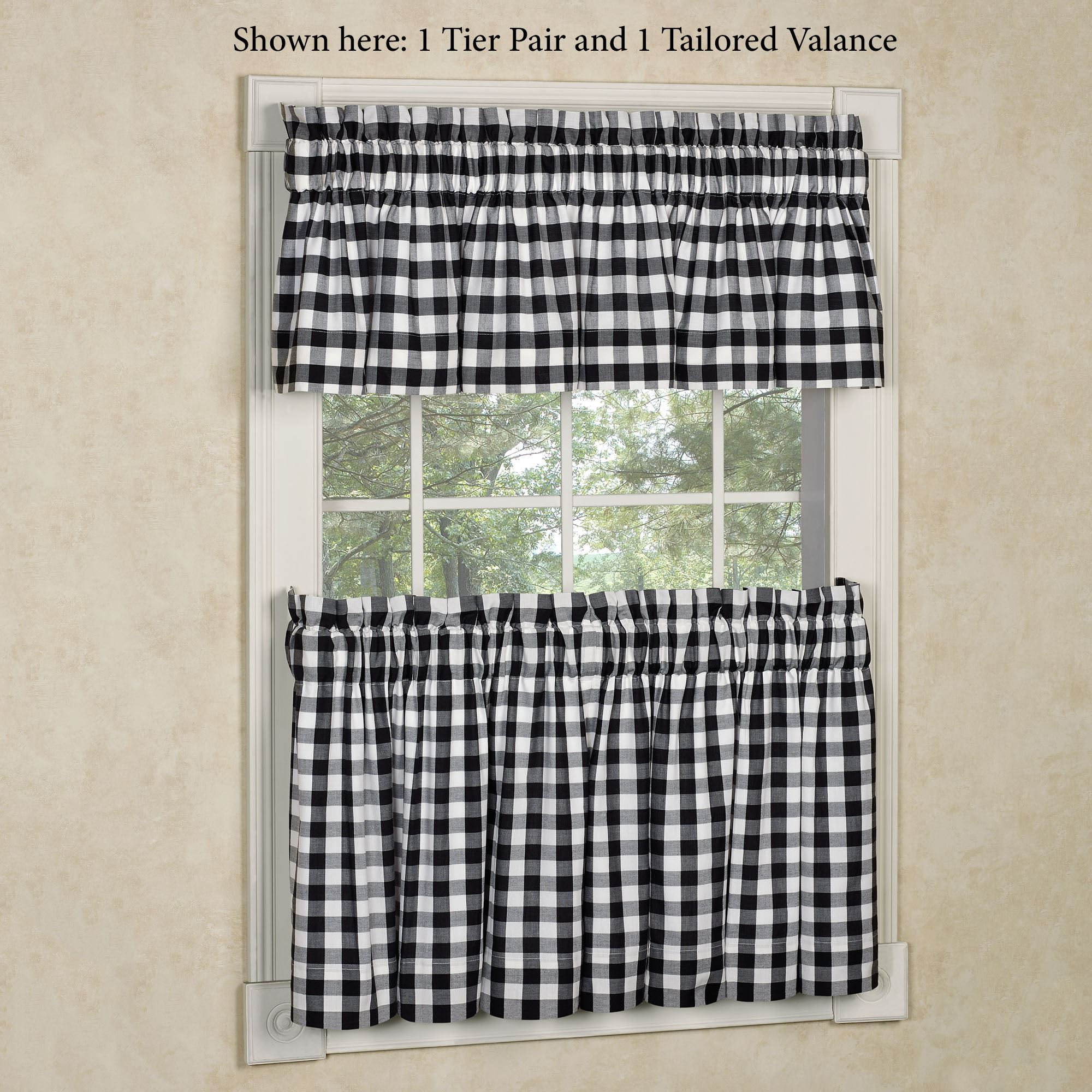 Emmie Black And Off White Buffalo Check Tier Window Treatment