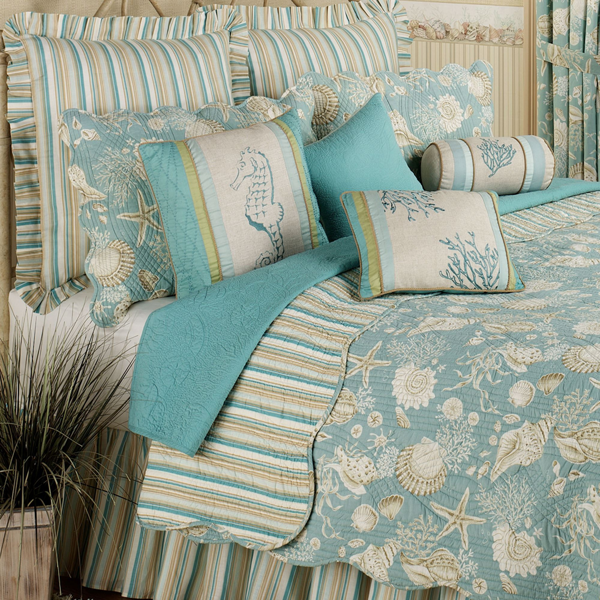 Natural Shells Coastal Quilt Bedding : teal quilt bedding - Adamdwight.com
