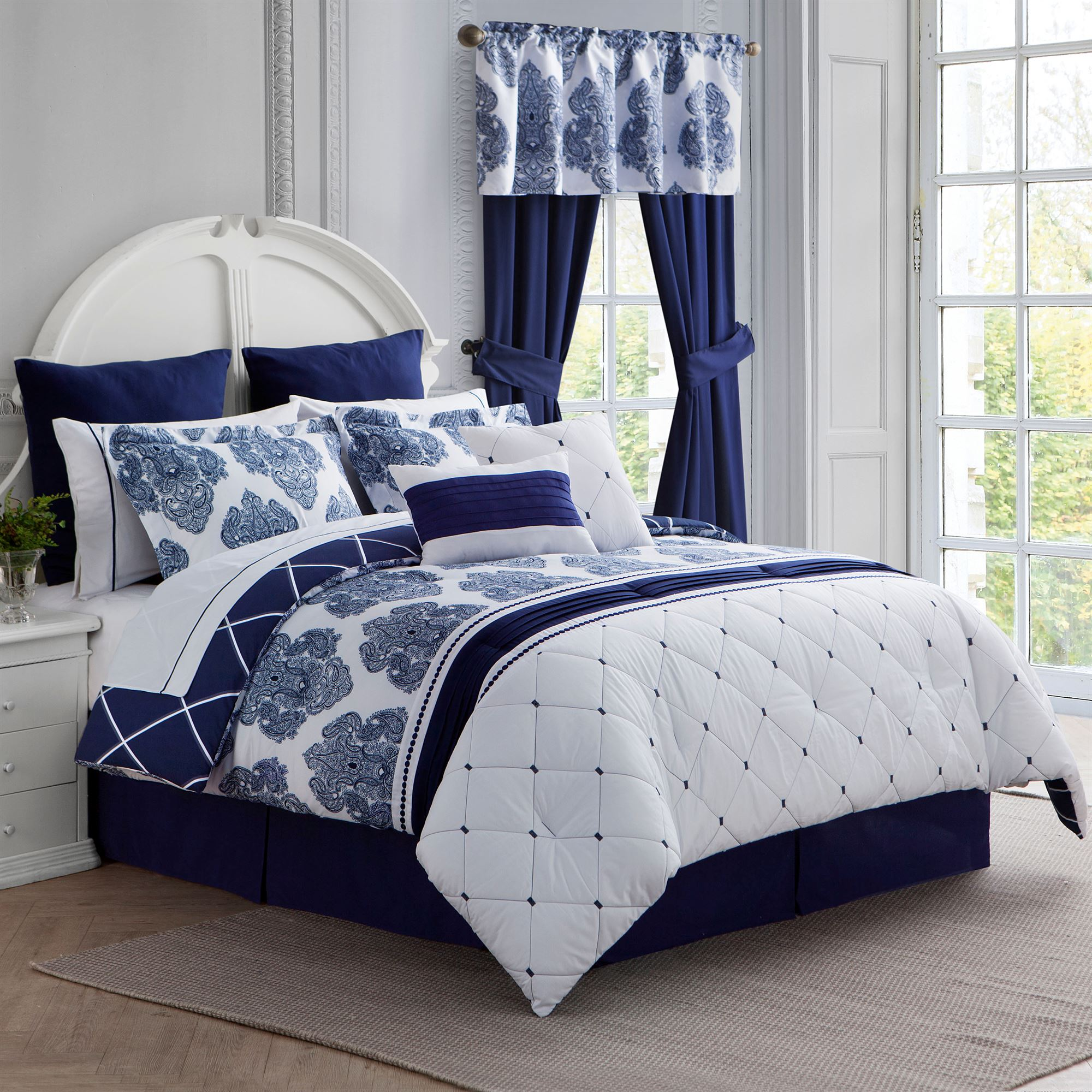 Calecca Indigo Blue Bed in a Bag pc forter Set