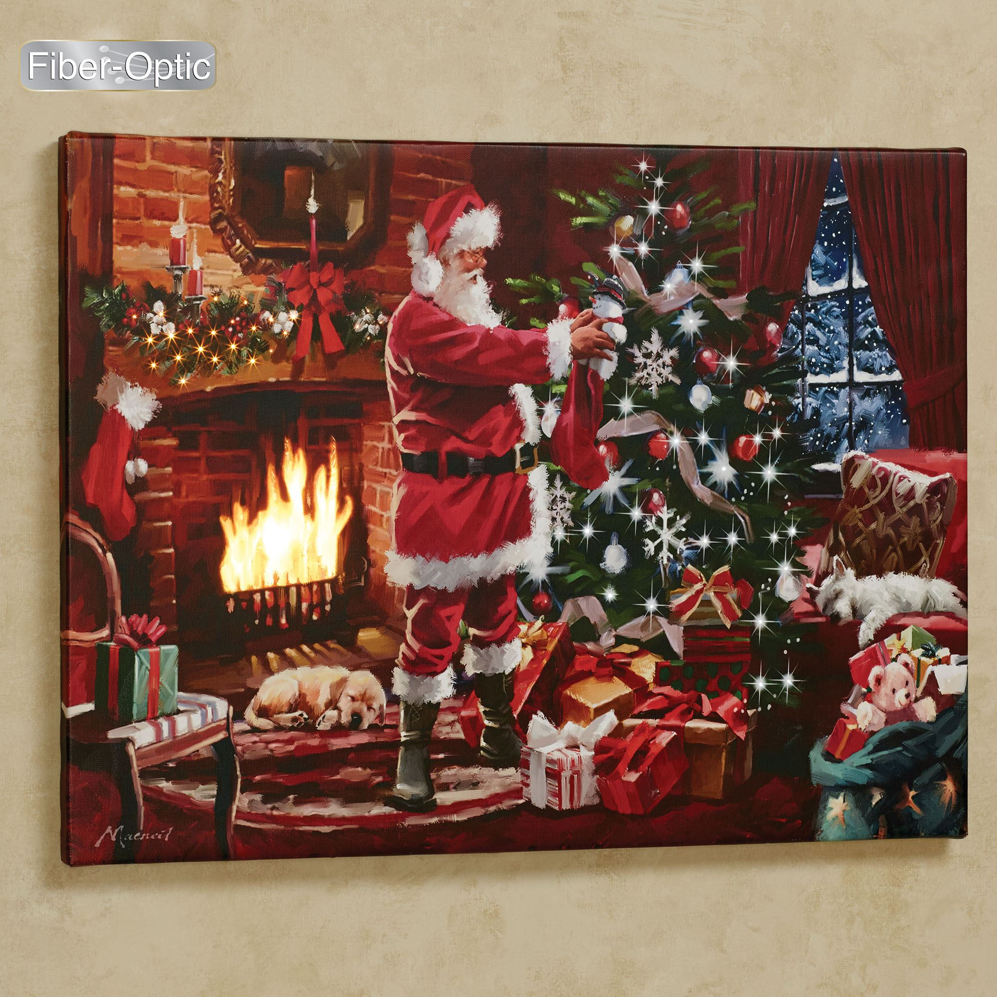 Fireside Santa Lighted Canvas Wall Art