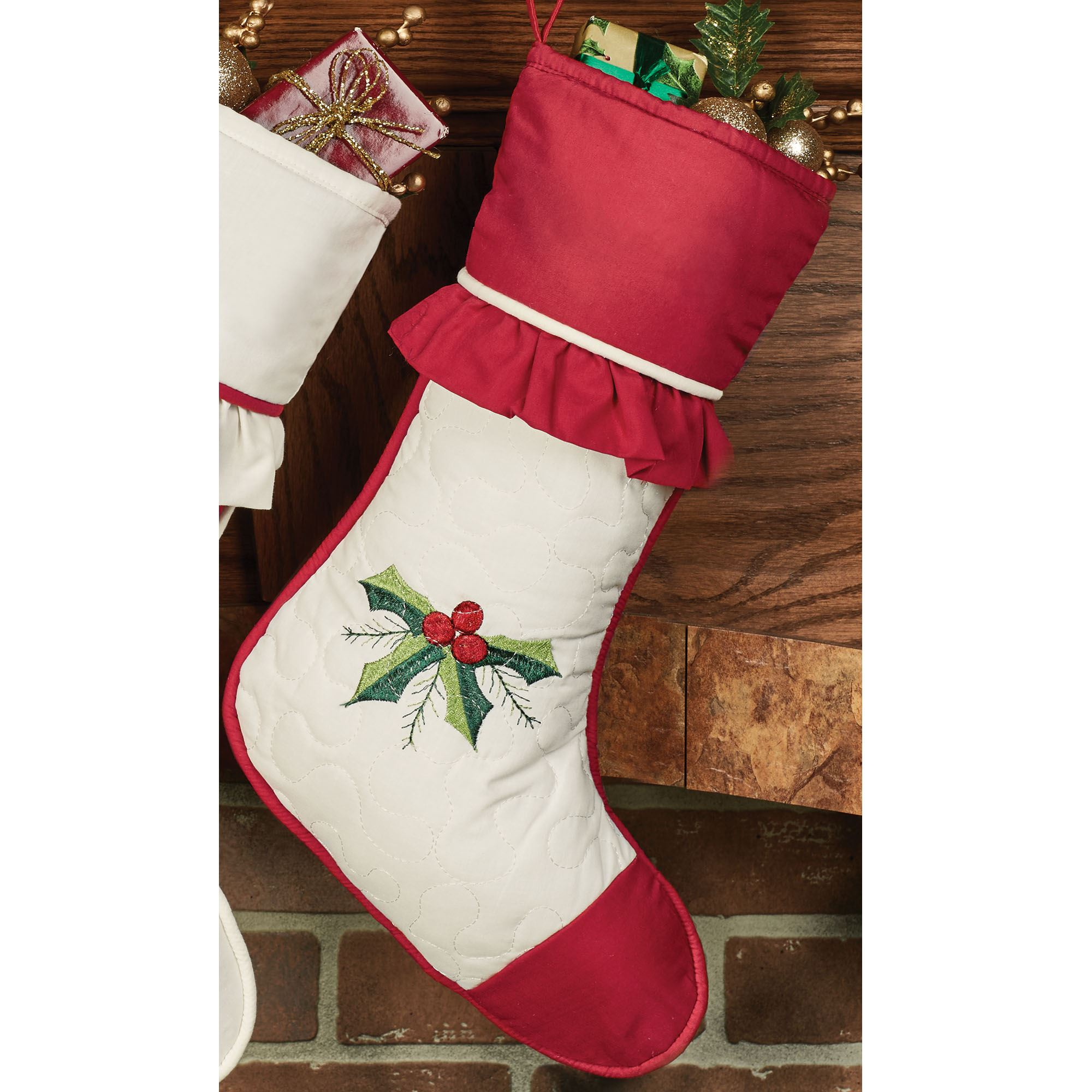 Holly Wreath Embroidered Christmas Stockings