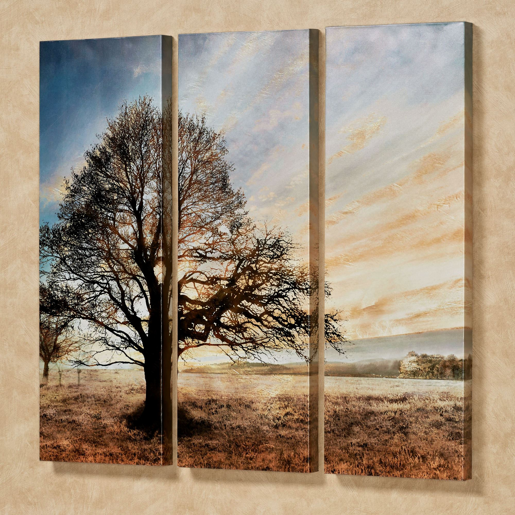 Illuminated Tree Triptych Canvas Wall Art Set