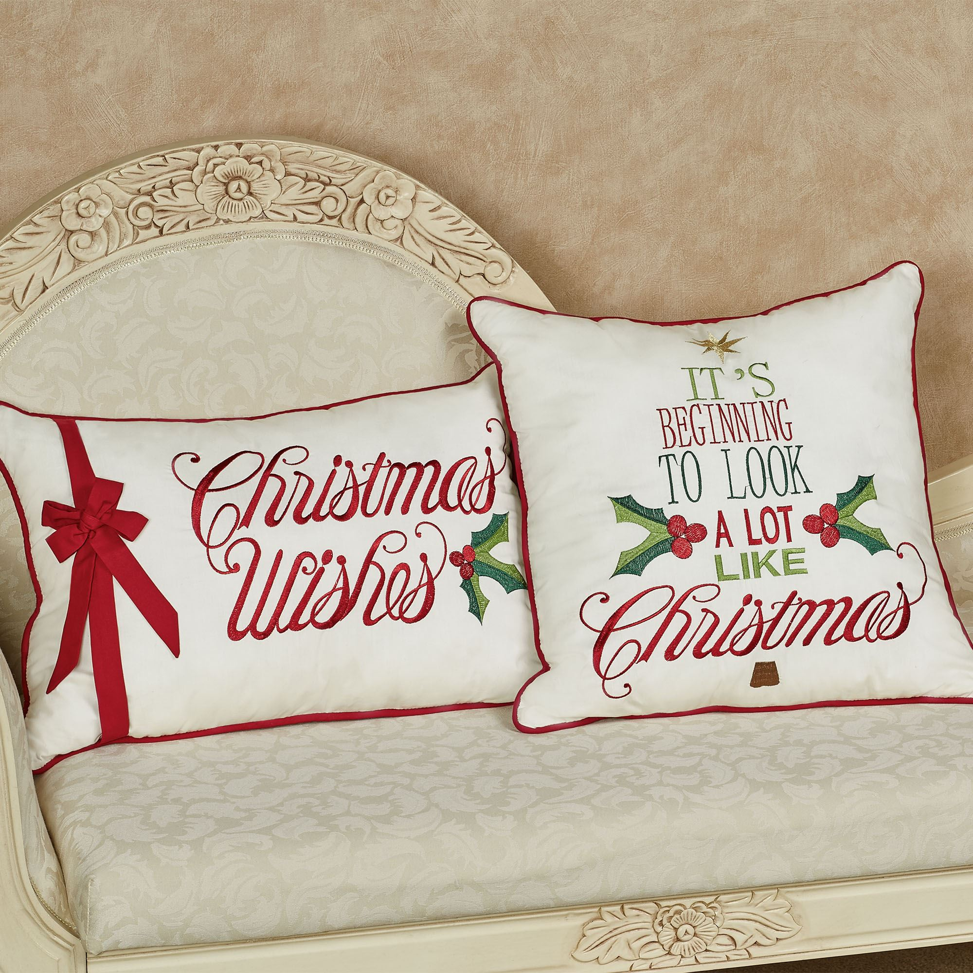 Holly Greetings Christmas Decorative Pillows