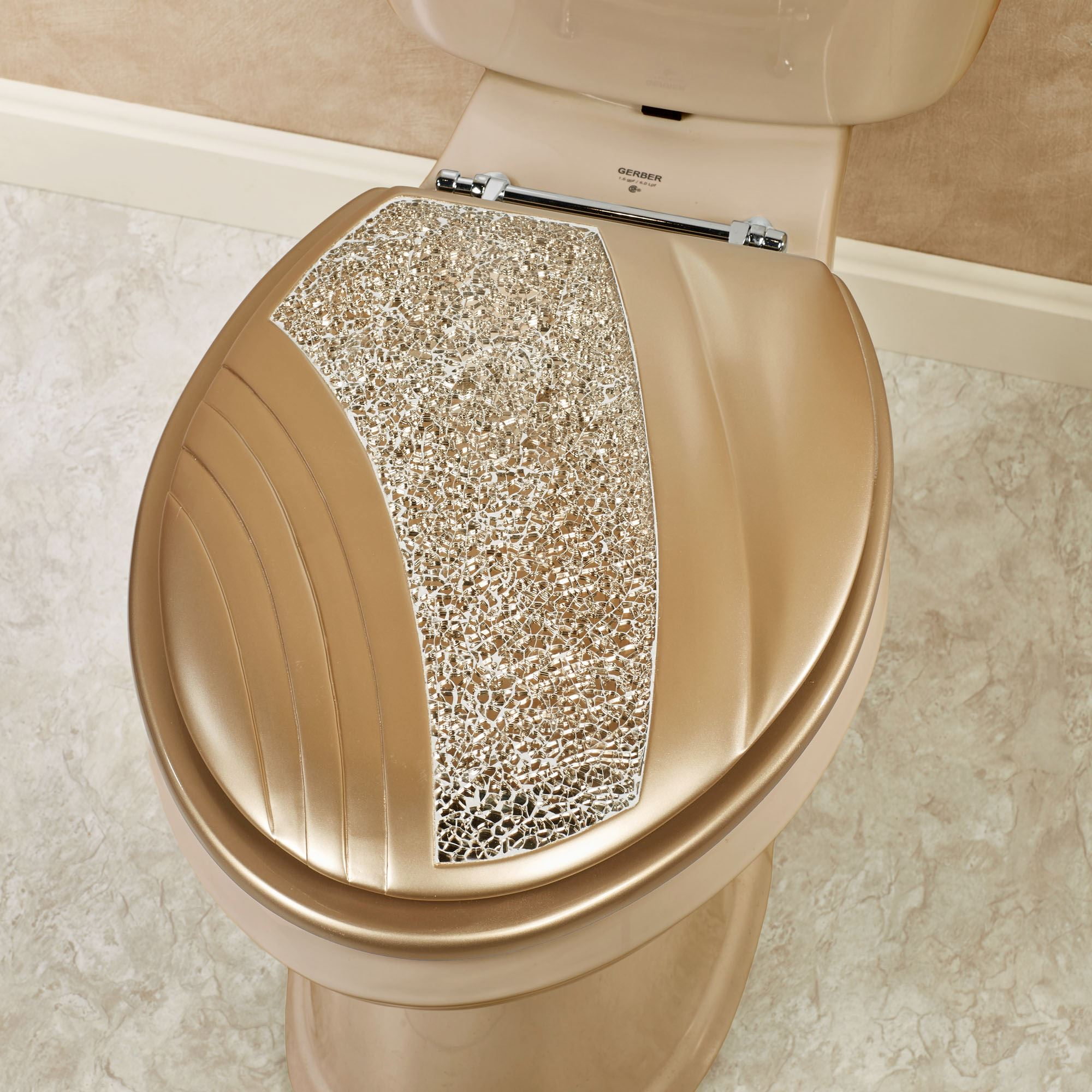 Fancy Toilet Glamour Mosaic Champagne Gold Elongated Toilet Seat
