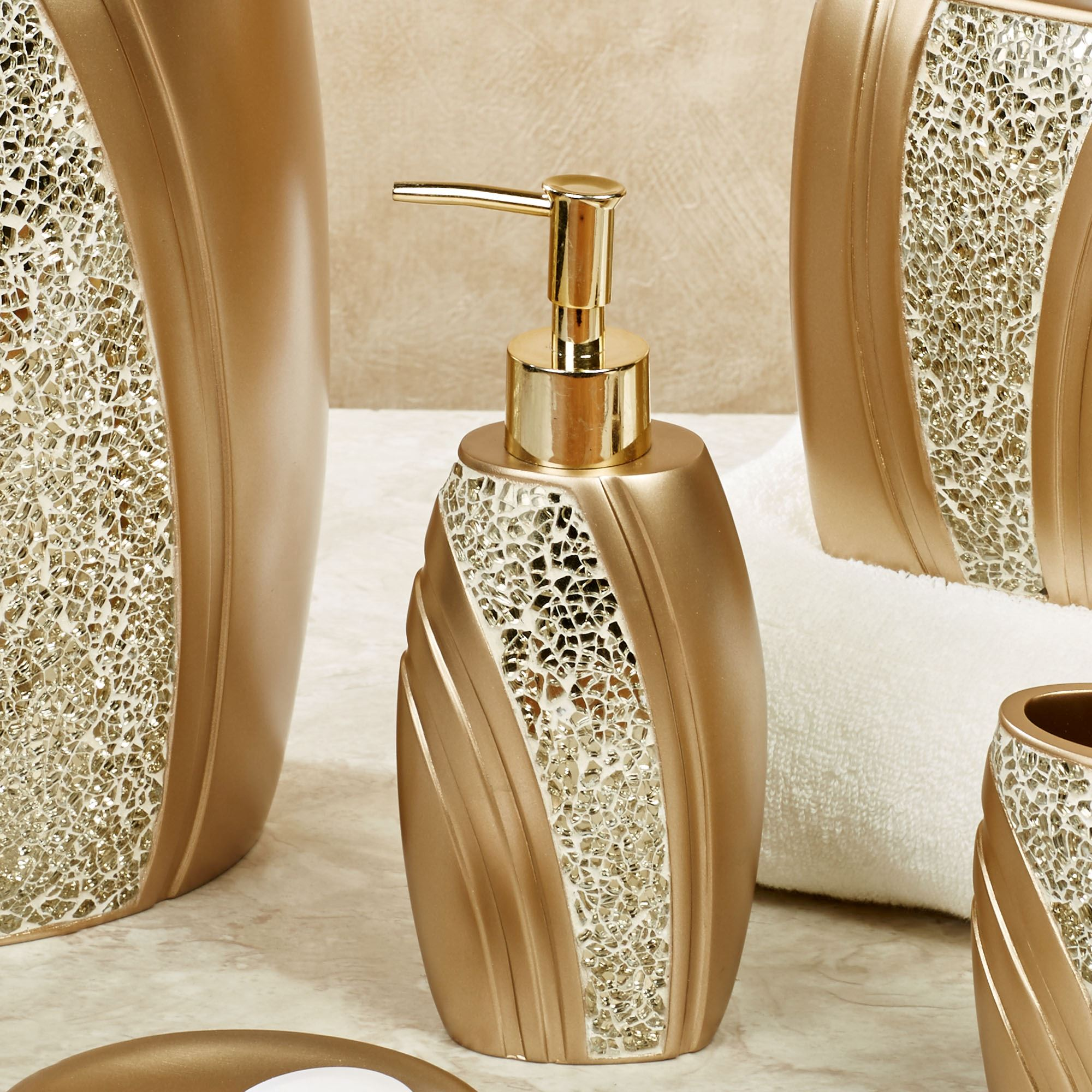 very gold mosaic bathroom accessories. Glamour Lotion Soap Dispenser Champagne Gold Mosaic Bath Accessories