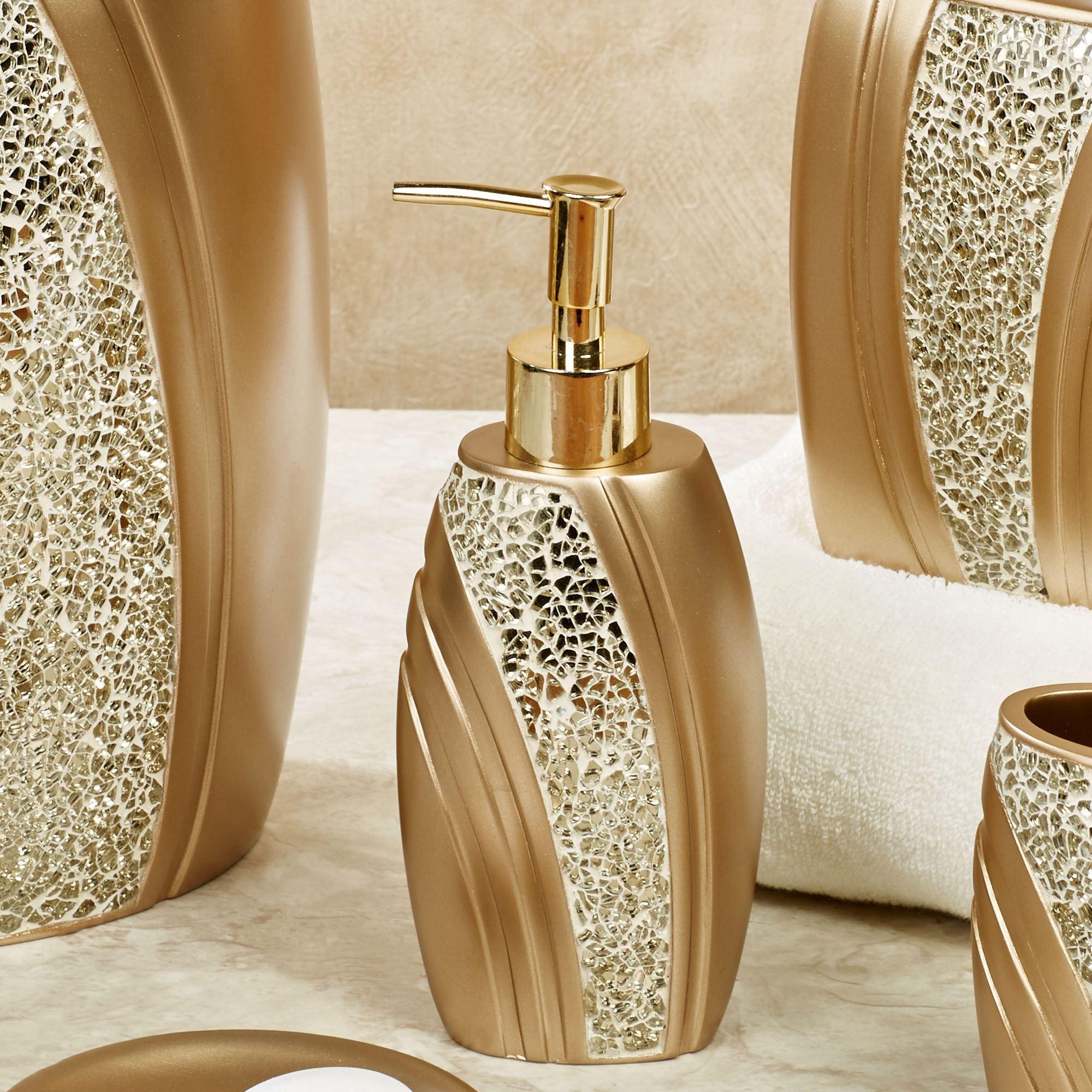 Glamour Mosaic Champagne Gold Bath Accessories