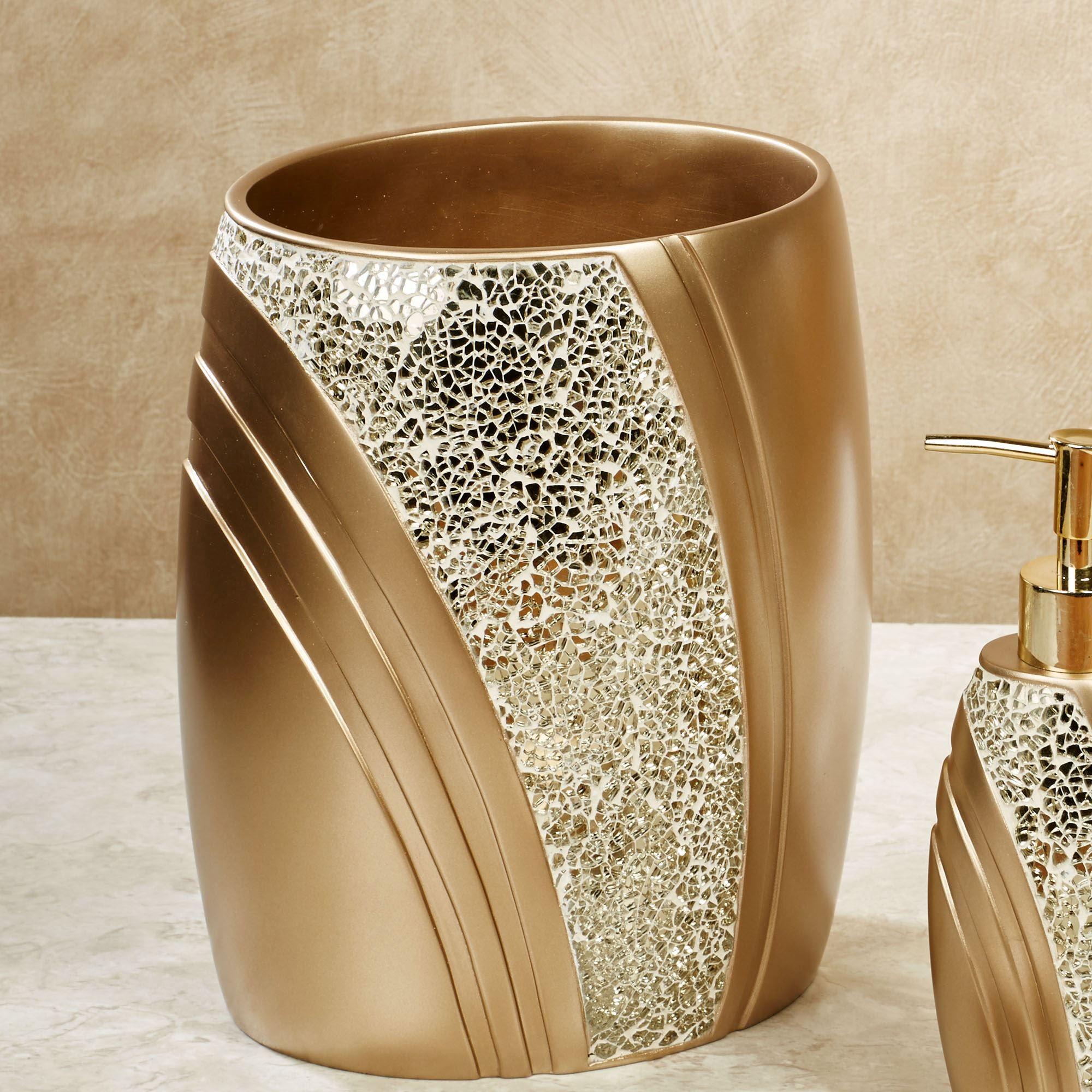 Very Gold Mosaic Bathroom Accessories Glamour Wastebasket Champagne Bath