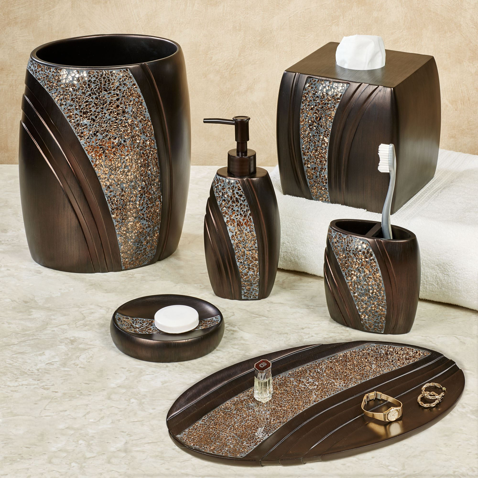 grandeur mosaic bronze bath accessories