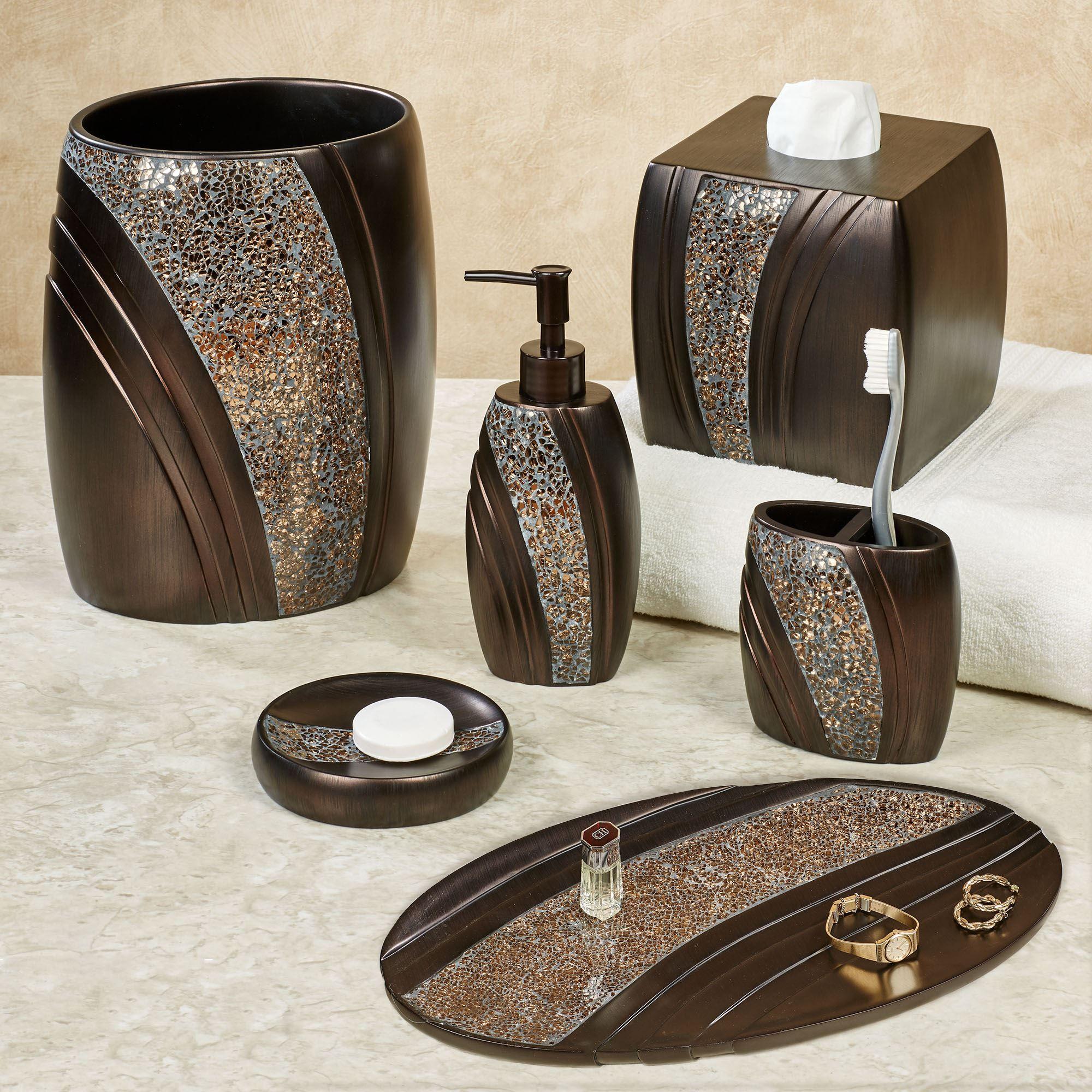 Grandeur Mosaic Bronze Bath Accessories, Bathroom Accessories Bronze