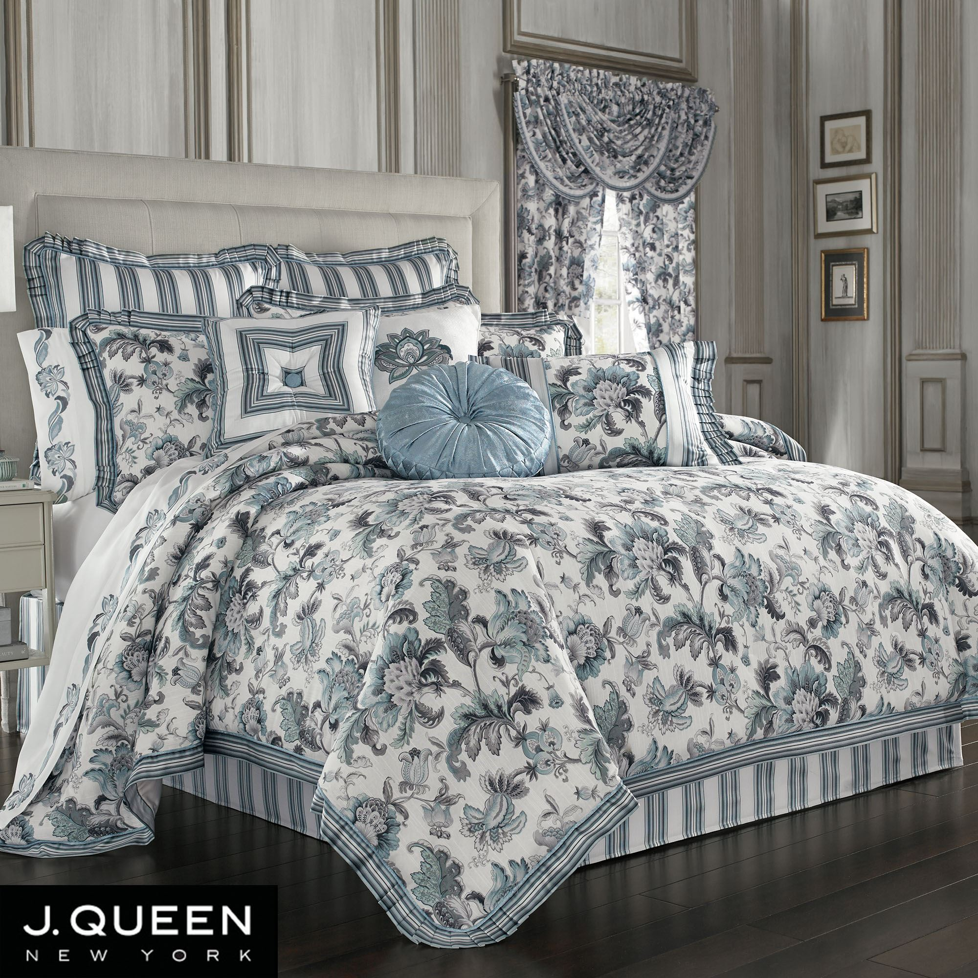 Atrium Jacobean Floral Comforter Bedding By J Queen New York