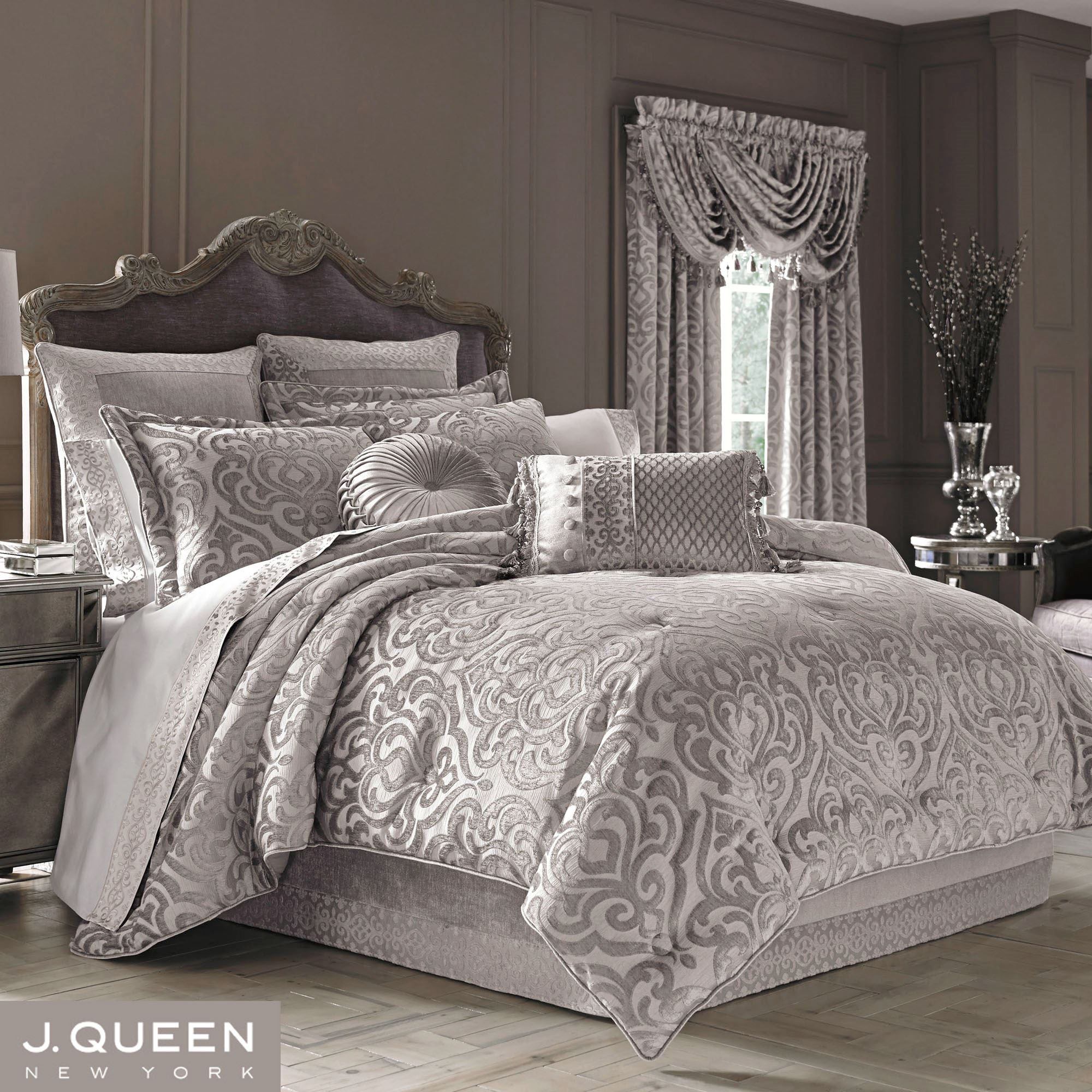 Bedding Decor: Sicily Silver Gray Medallion Comforter Bedding By J Queen